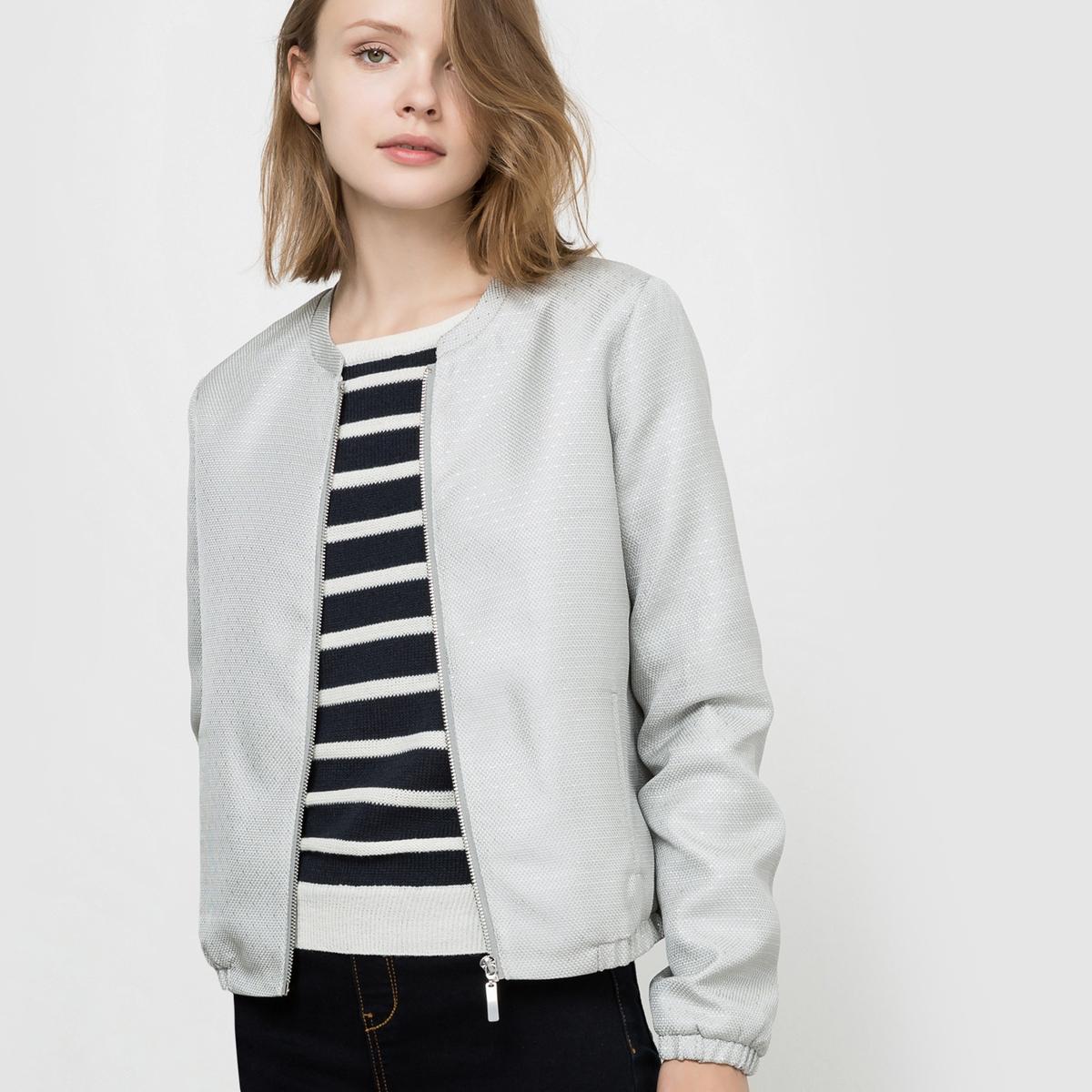 Куртка-бомбер с рисунком в микрогорошек
