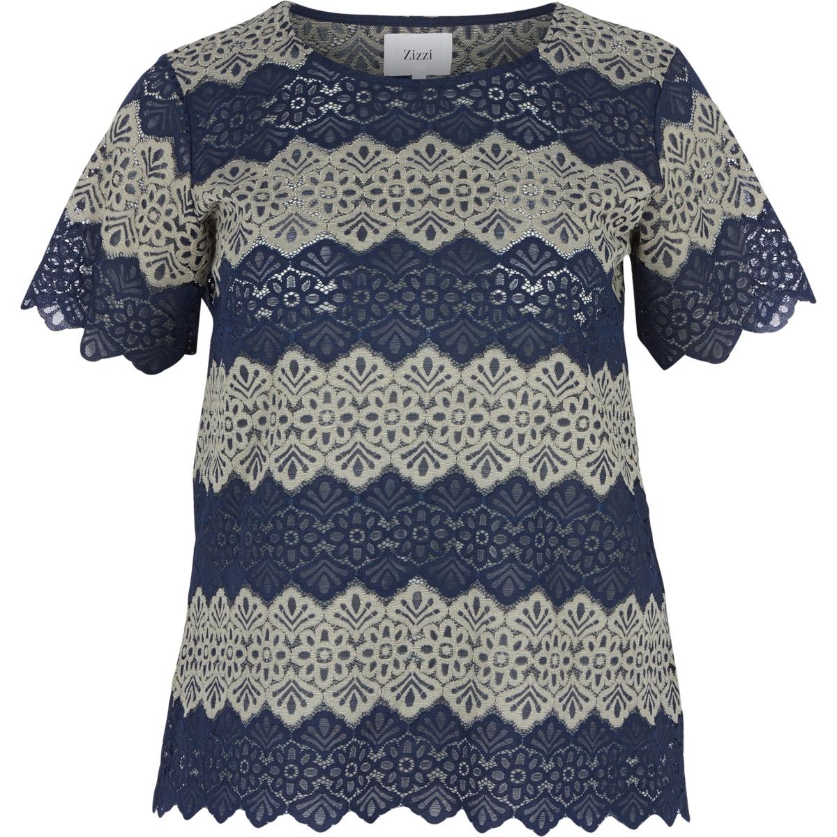 БлузкаБлузка ZIZZI. 55% хлопка, 45% полиамида. Женственная блузка из кружева. Круглый вырез, короткие рукава. Слегка прозрачная<br><br>Цвет: темно-синий,черный<br>Размер: 42/44 (FR) - 48/50 (RUS).46/48 (FR) - 52/54 (RUS).46/48 (FR) - 52/54 (RUS)