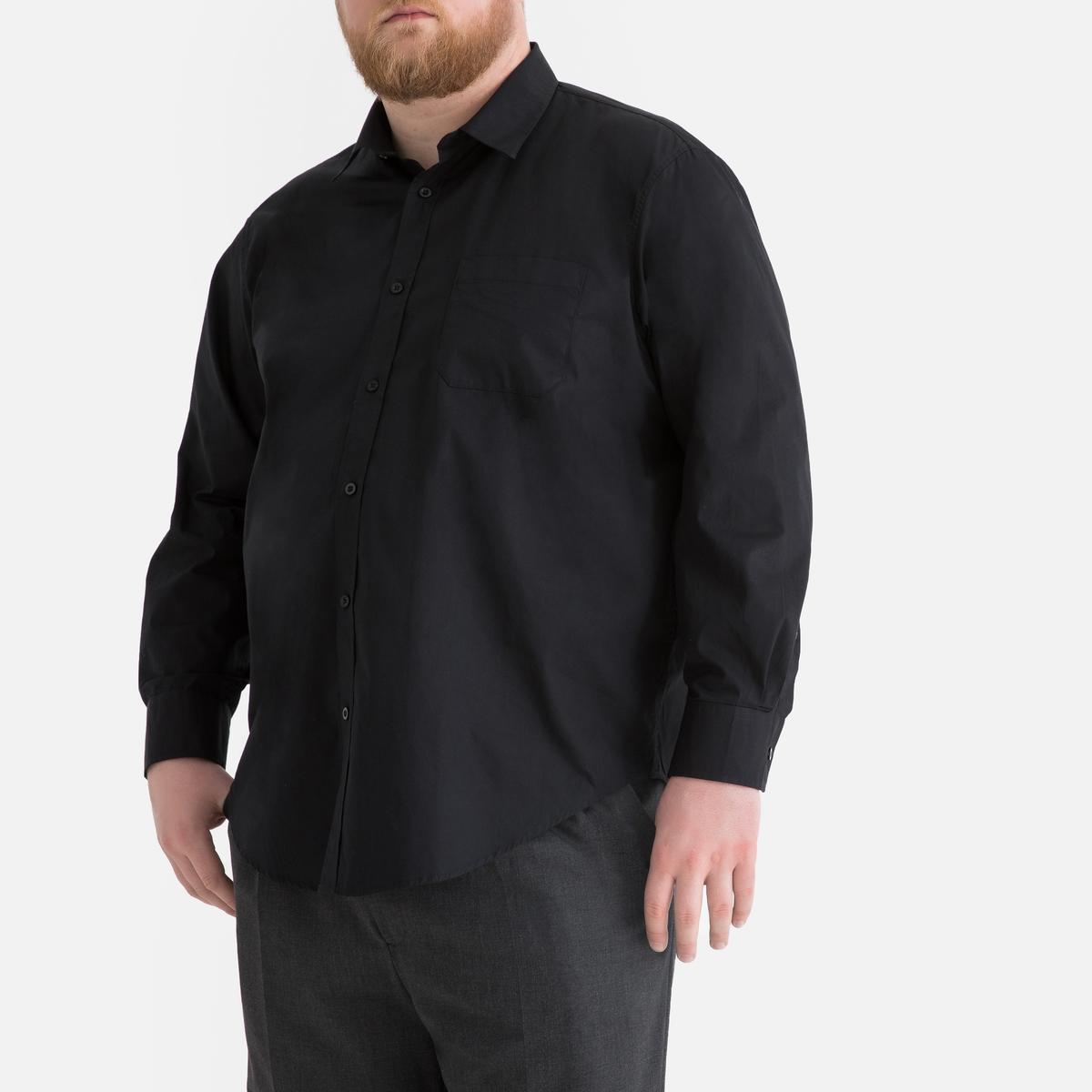Camisa direita de mangas compridas, tamanho grande