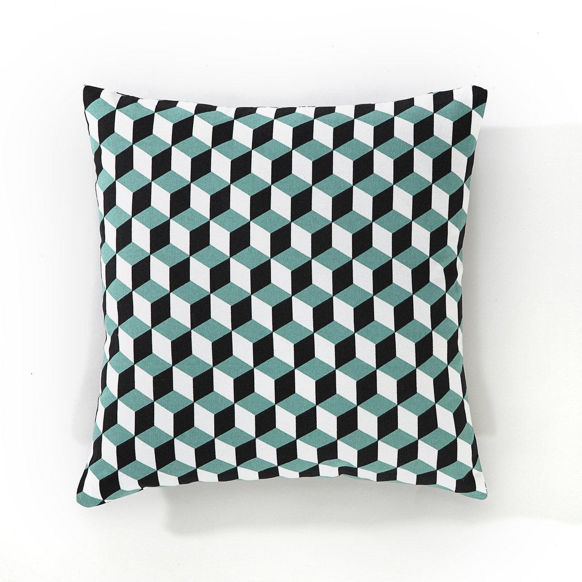 Чехол для подушкиЧехол для подушки Decio. Красивый геометрический рисунок с одной стороны, однотонный белый цвет с другой стороны. Застежка на скрытую молнию в тон. Стирка при 30°. 100% хлопка. Размер: 40 х 40 см.<br><br>Цвет: бледно-зеленый/латунь,зеленый/черный/белый,красный/ синий,медный/светло-серый,Медовый/черный,сине-зеленый/розовая пудра<br>Размер: 40 x 40  см.40 x 40  см