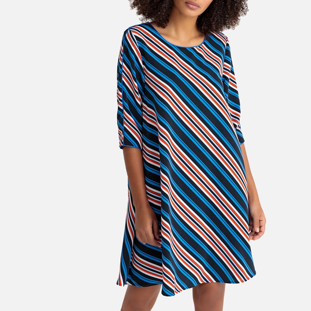 цены Платье-миди La Redoute Расклешенное в полоску с рукавами 38 (FR) - 44 (RUS) красный
