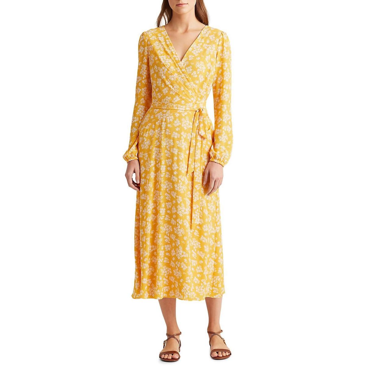 Платье La Redoute С принтом длинное с длинными рукавами M желтый платье длинное с запахом с рисунком coming