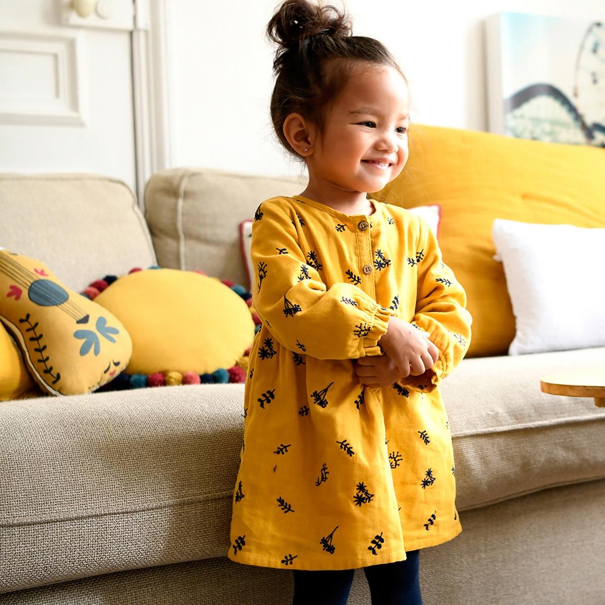 цена Комплект - платье и колготки La Redoute мес- года 3 мес. - 60 см желтый онлайн в 2017 году