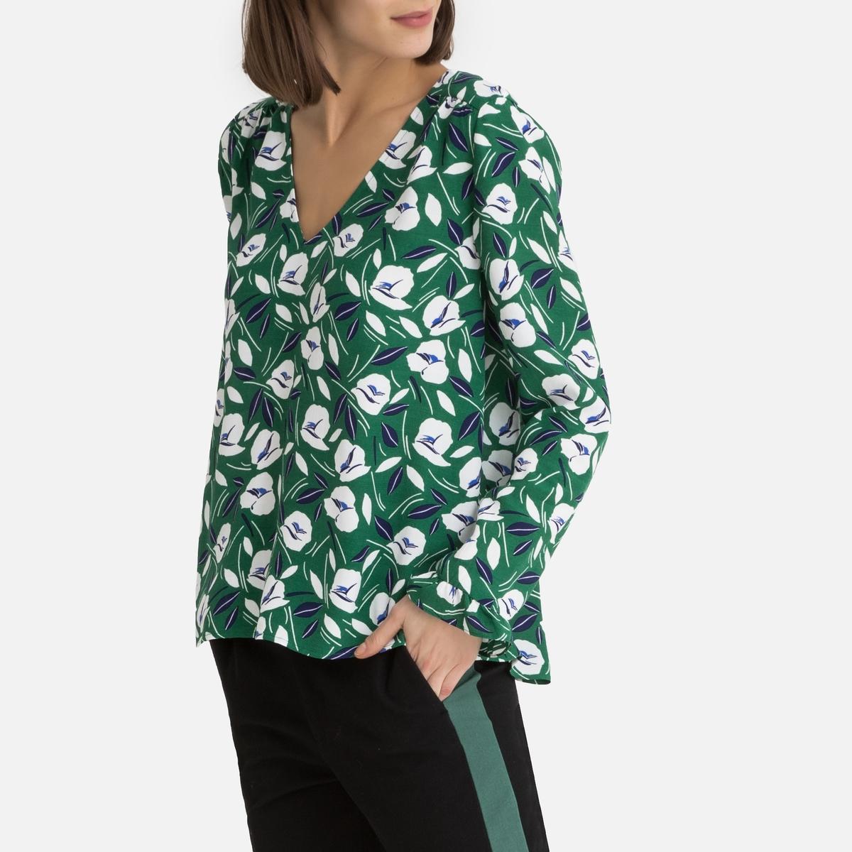 цены Блузка La Redoute С принтом и V-образным вырезом длинные рукава XS зеленый