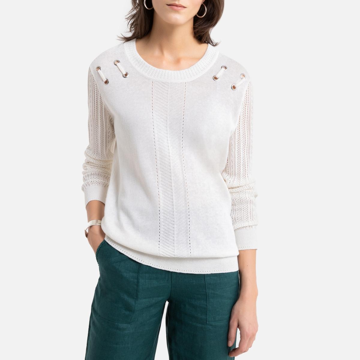 Camisola de gola redonda, em malha fina de linho e de algodão