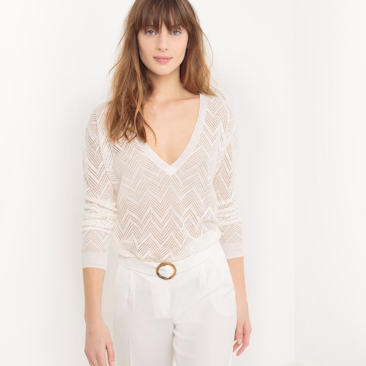 Пуловер из ажурного трикотажа с V-образным вырезом из льна