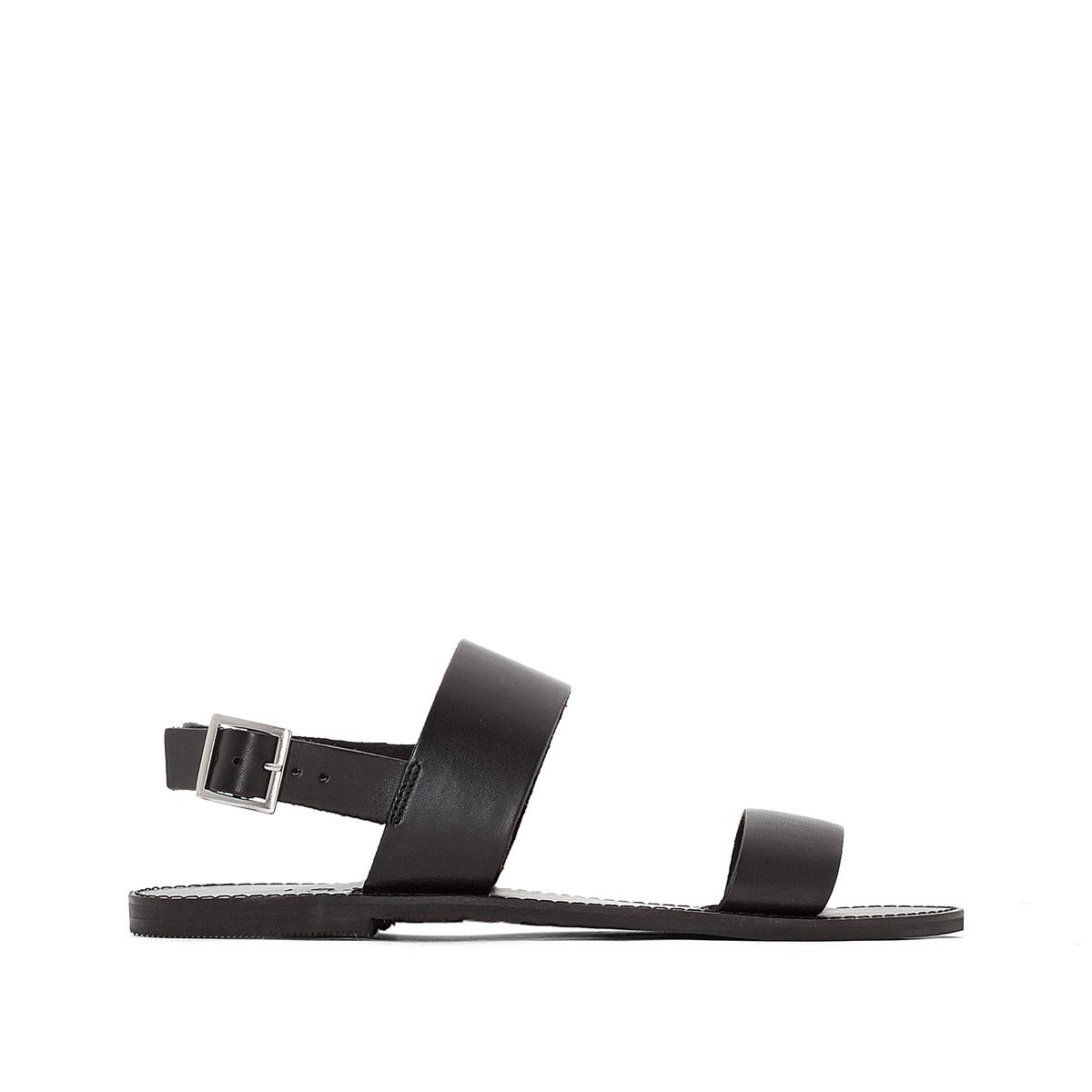 Босоножки кожаные AoudaВерх : кожа   Подкладка : кожа   Стелька : кожа   Подошва : эластомер   Форма каблука : плоский каблук   Мысок : закругленный мысок   Застежка : пряжка<br><br>Цвет: черный<br>Размер: 36.38