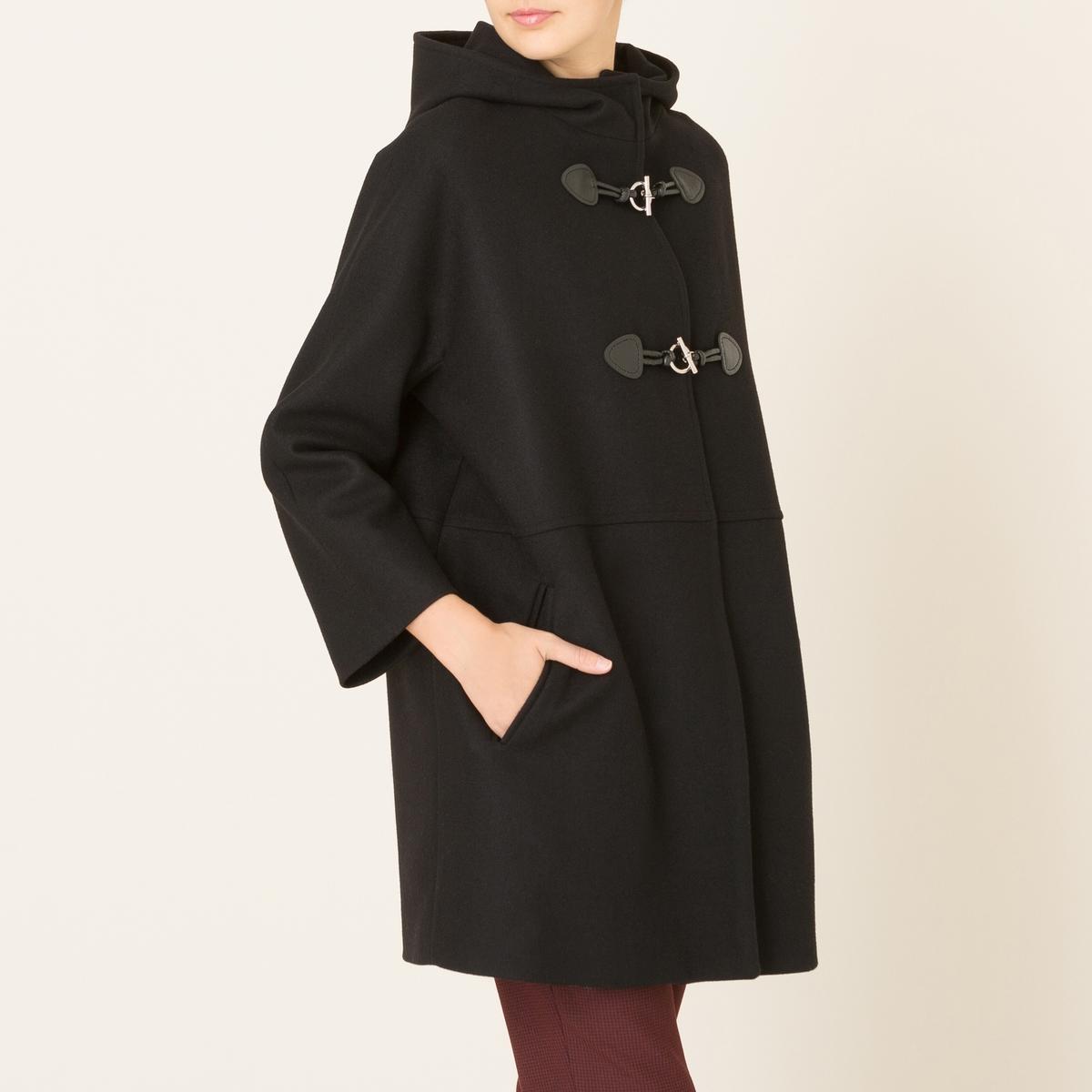 Пальто средней длины из шерстяного драпаСостав и описание    Материал : 70% необработанной шерсти, 20% полиамида, 10% кашемира   Подкладка 100% ацетат   Марка : LA BRAND BOUTIQUE<br><br>Цвет: черный