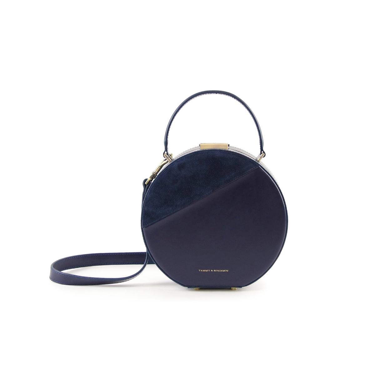 Сумка La Redoute Круглая из двух материалов HATBOX MINI COWHIDE единый размер синий