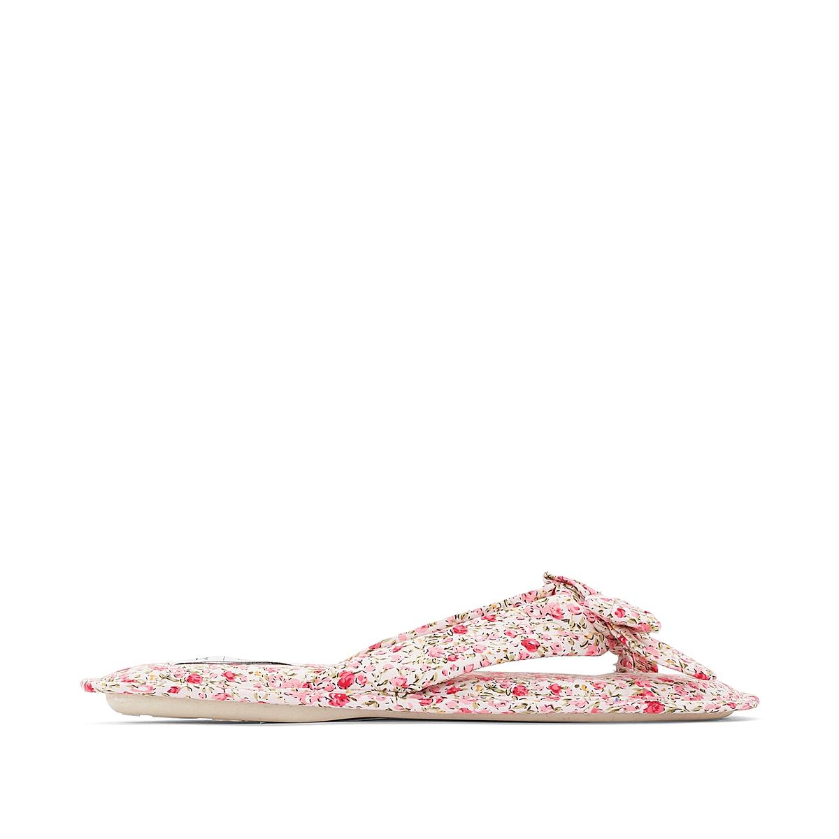 Мягкие туфли с цветочным рисункомДлинные мягкие туфли из текстиля с цветочным рисунком, бантик на голенище.                                                    Верх/голенище  : текстиль                                                    Подкладка : текстиль                                                    Стелька : текстиль                                                    Подошва : эластомер<br><br>Цвет: рисунок либерти<br>Размер: 41.40.38
