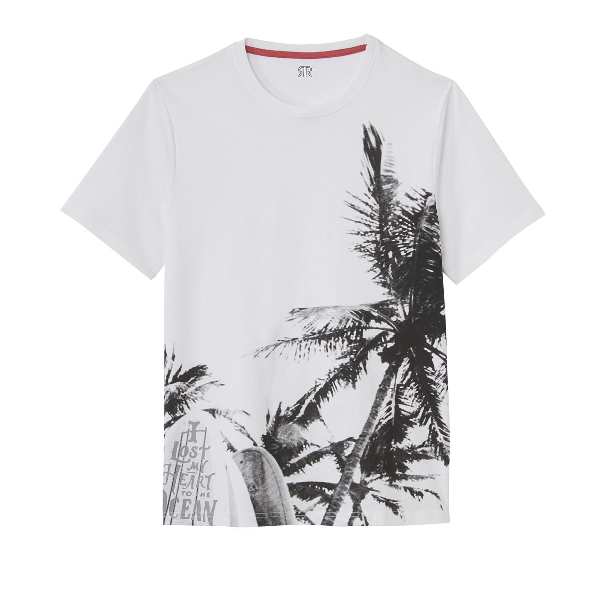 T-shirt de gola redonda, impressão fotográfica, mangas curtas