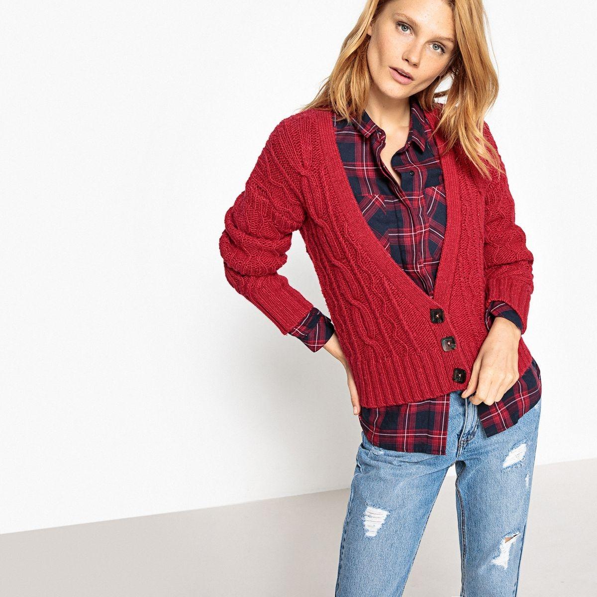 Cardigan col v boutonné, laine