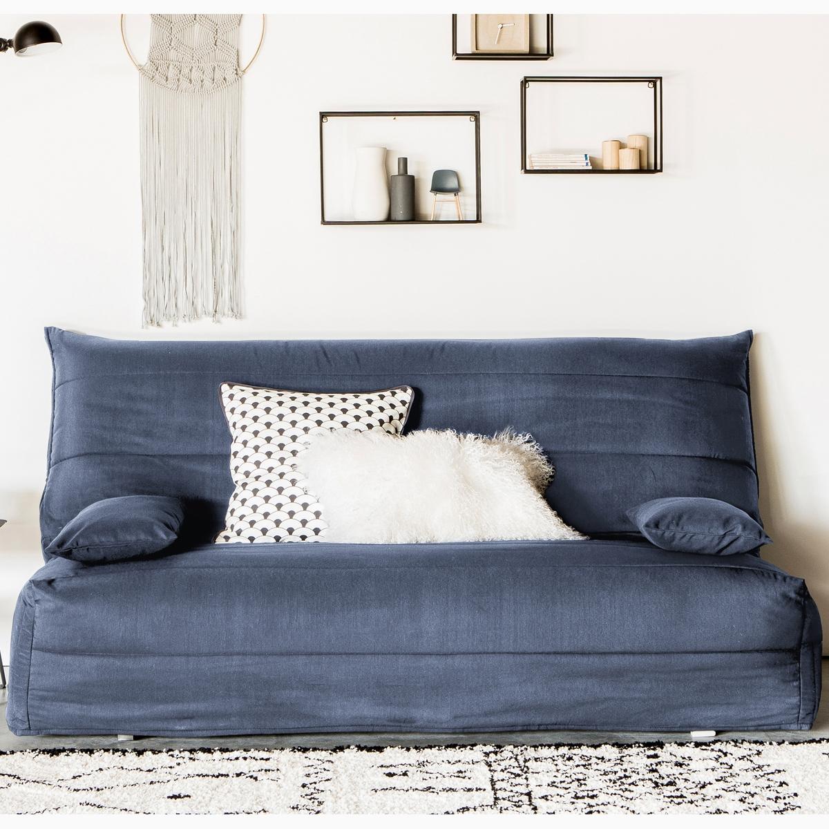 Стеганый LaRedoute Чехол из поликоттона для дивана-аккордеона ASARET 140 см синий