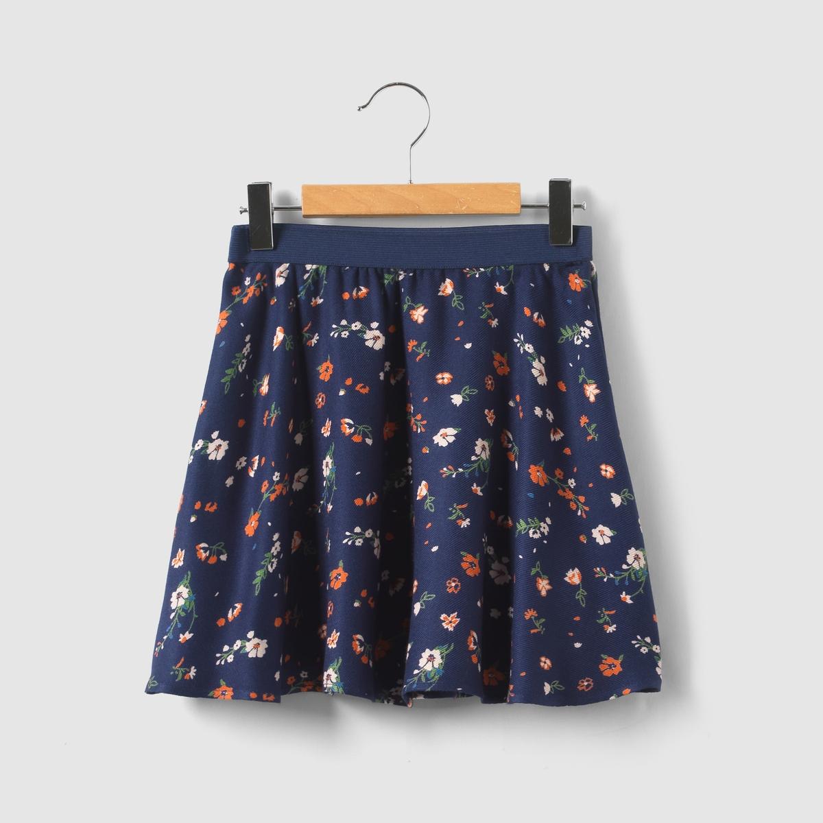Короткая расклешенная юбка с цветочным рисунком, 3-12 лет