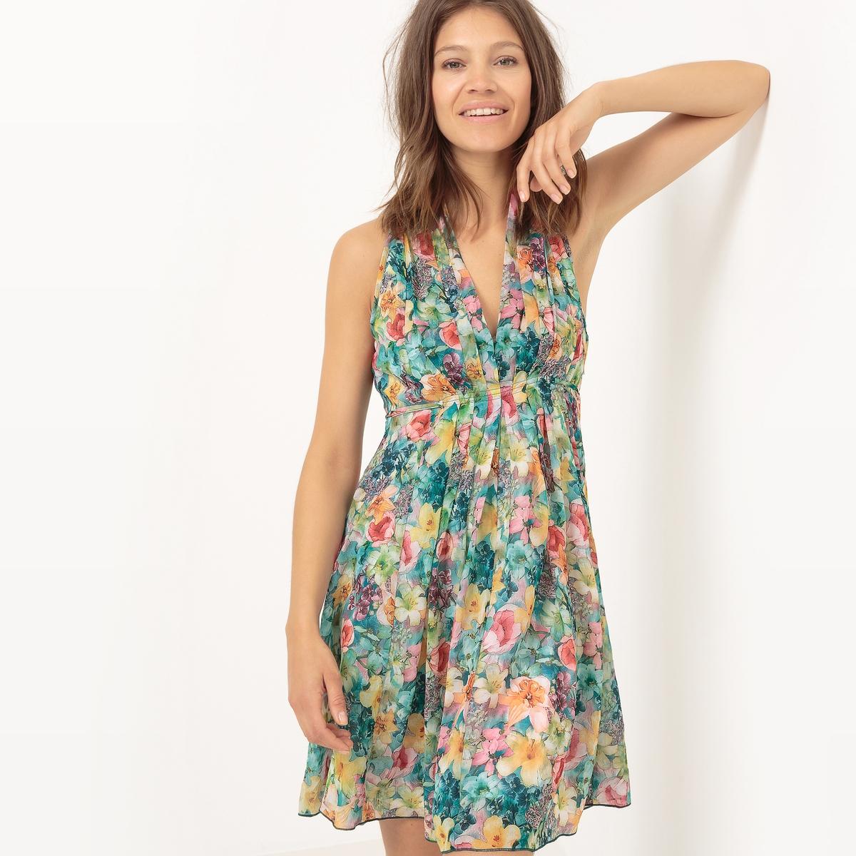 Платье расклешенное без рукавов с экзотическим рисункомМатериал : 100% полиэстер  Длина рукава : без рукавов  Форма воротника : V-образный вырез Покрой платья : расклешенное платье. Рисунок : цветочный.   Длина платья : короткое.<br><br>Цвет: цветочный рисунок<br>Размер: L