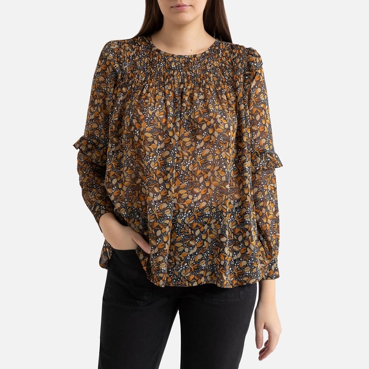 Блузка La Redoute Из вуали с принтом и длинными рукавами SMOKE 3(L) каштановый блузка la redoute из вуали с принтом и длинными рукавами smoke 3 l каштановый