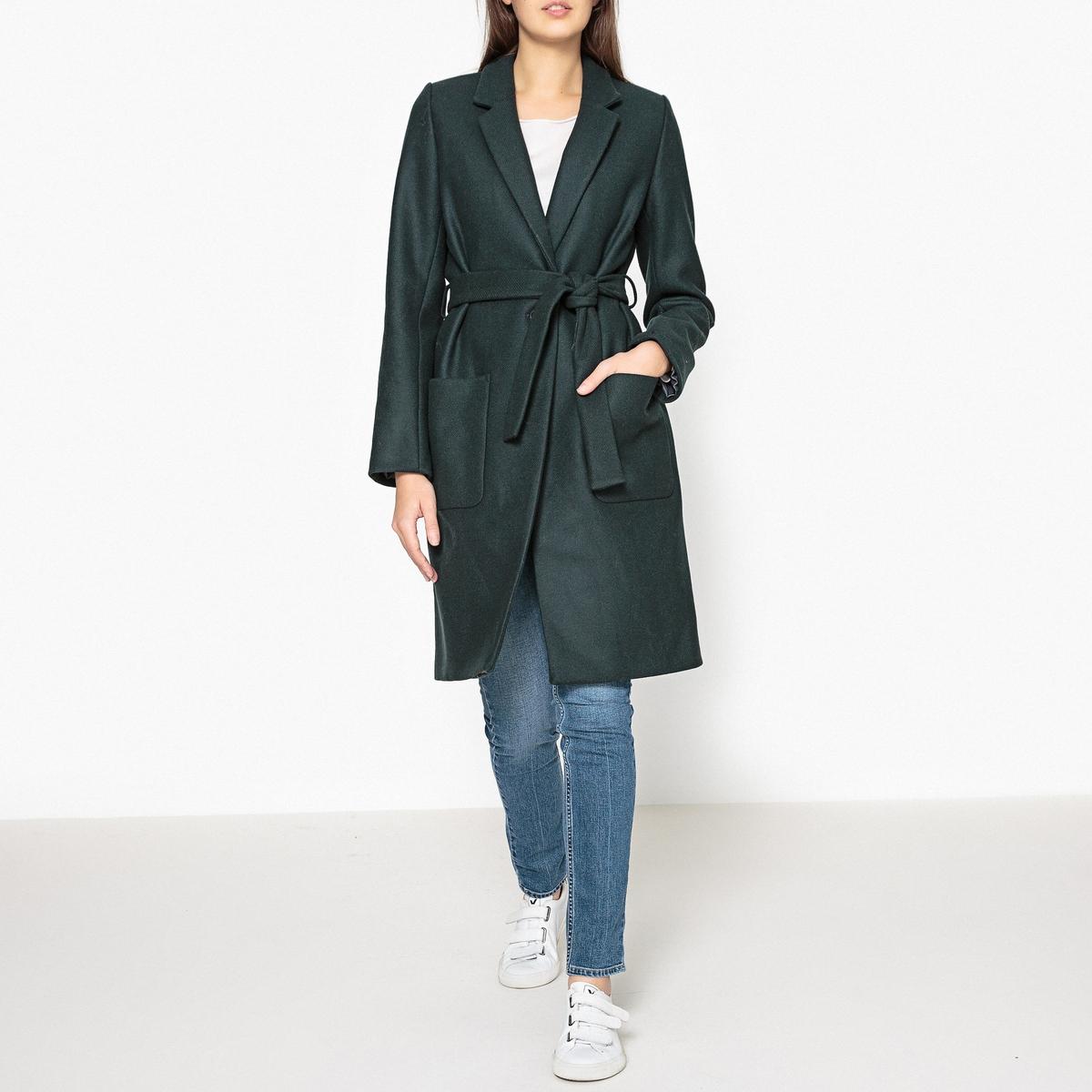 Пальто прямое с поясом MARCELINОписание:Прямое пальто SESSUN - модель  MARCELIN с поясом, смесовый шерстяной материал.Детали •  Длина : средняя •  Шалевый воротник •  Без застежкиСостав и уход •  80% шерсти, 20% полиамида •  Следуйте советам по уходу, указанным на этикетке<br><br>Цвет: темно-зеленый<br>Размер: M.S