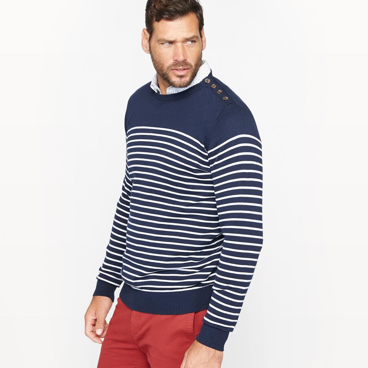 Пуловер в полоску с застежкой на пуговицыдлина спереди : 73 см для размера 50/52 и 81 см для размера 82/84.- длина рукавов : 68 см.<br><br>Цвет: в полоску темно-синий/белый<br>Размер: 66/68.70/72