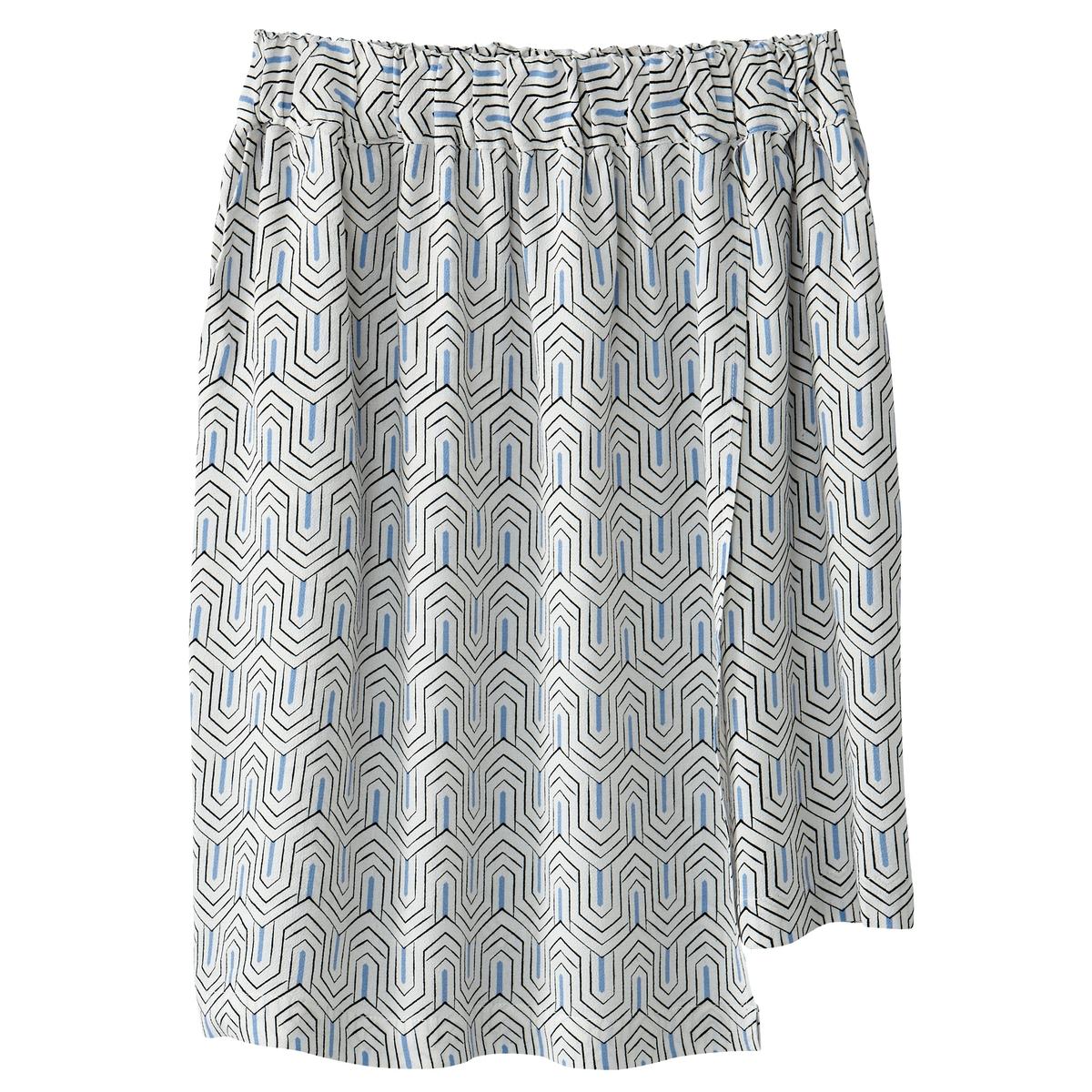 Falda con faldón cruzado superpuesto estampada