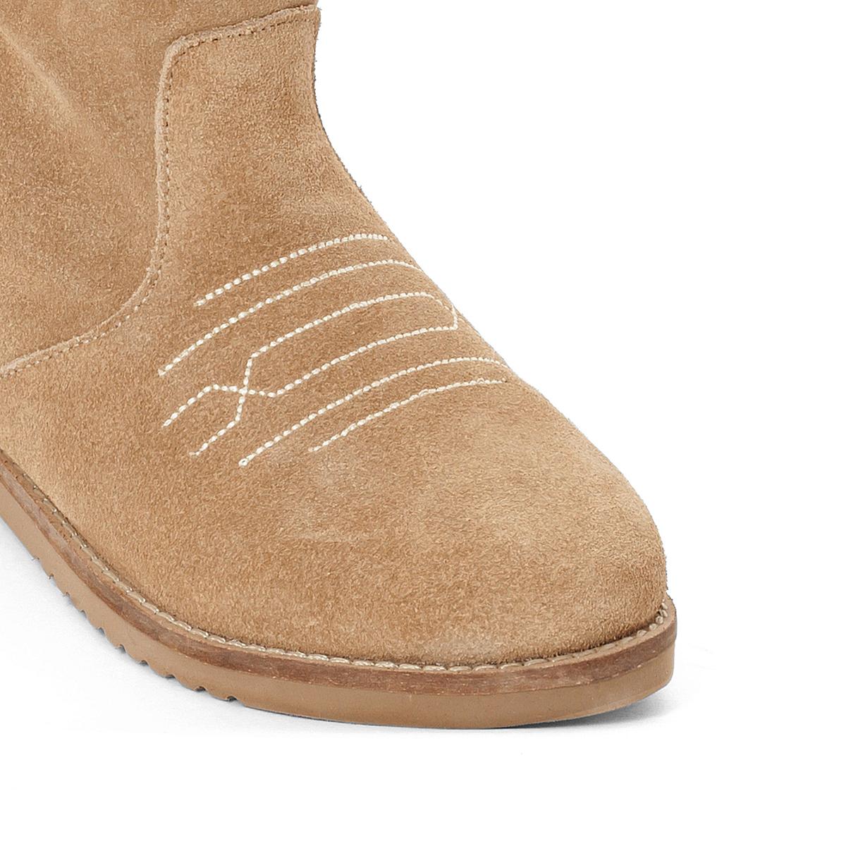 Ботильоны из кожи  QuartzВерх : Кожа. Подкладка : текстиль Стелька : Кожа. Подошва : синтетика Форма каблука : плоский каблук Носок : закругленный Застежка : без застежки<br><br>Цвет: бежевый<br>Размер: 36