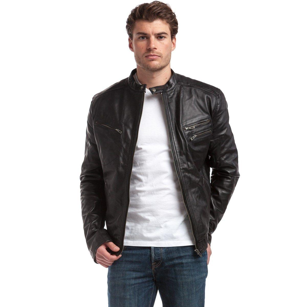 Veste style motard en cuir d'agneau