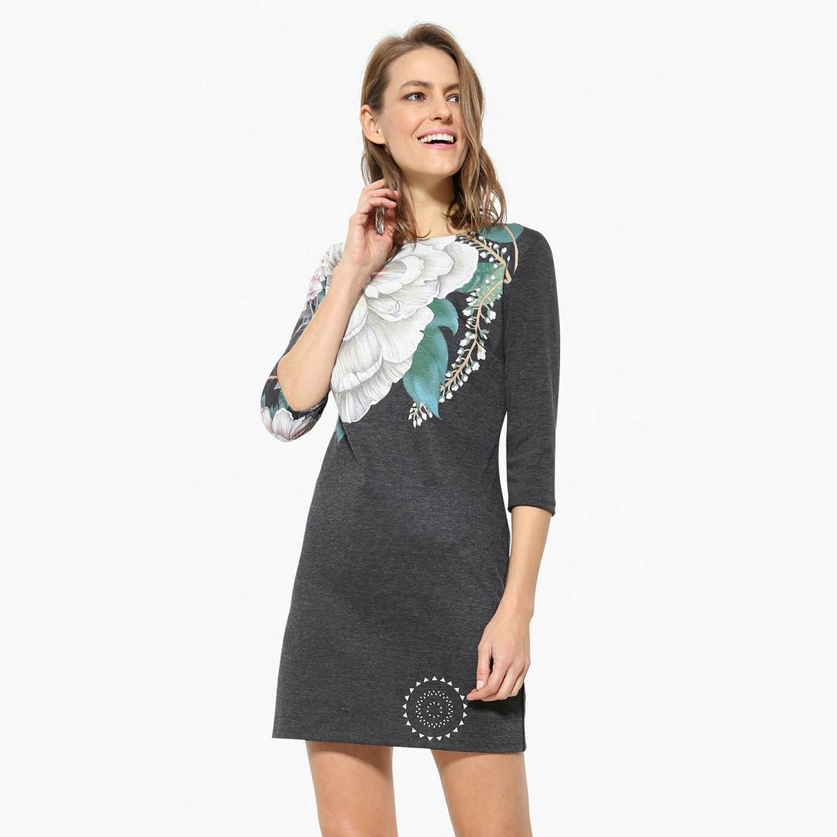 Платье короткое с рукавами 3/4 платье с короткими рукавами на поясе двухцветное desigual vest roxana