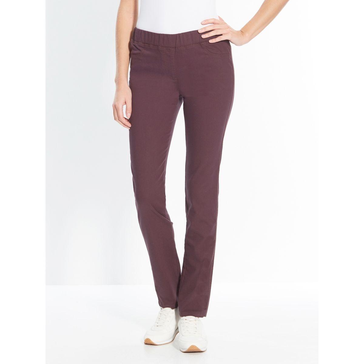 Pantalon uni extensible, mollet standard