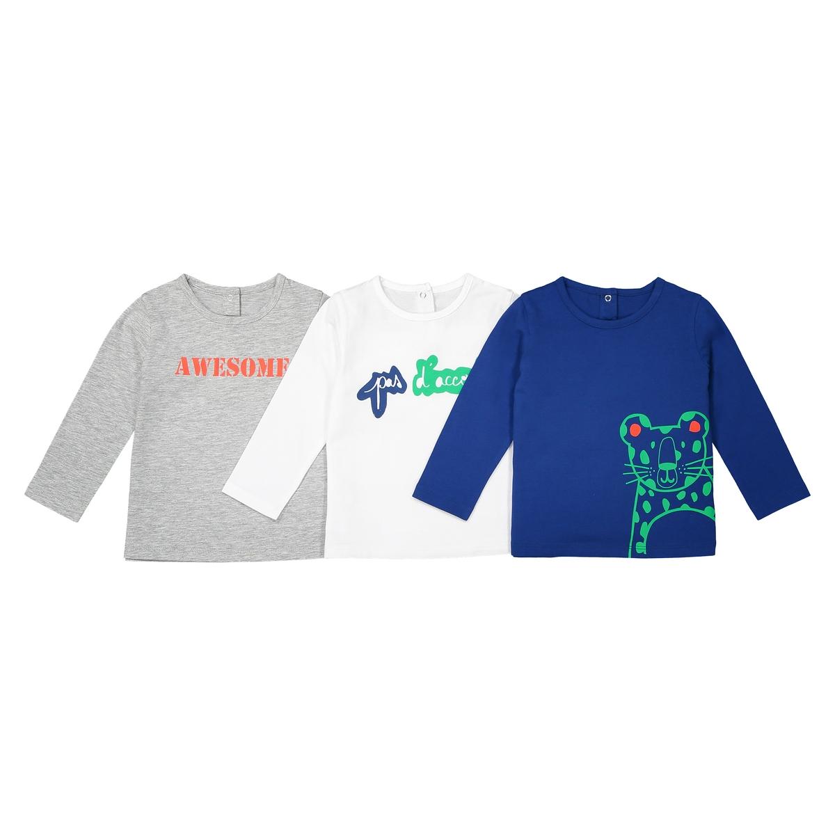 Комплект из 3 футболок с длинными рукавами - 1 мес. - 3 годаОписание:Детали •  Длинные рукава •  Круглый вырез •  Рисунок спередиСостав и уход •  100% хлопок •  Стирать при 40° •  Сухая чистка и отбеливание запрещены • Барабанная сушка на умеренном режиме •  Низкая температура глажкиТоварный знак Oeko-Tex® . Знак Oeko-Tex® гарантирует, что товары прошли проверку и были изготовлены без применения вредных для здоровья человека веществ.<br><br>Цвет: белый + синий + темно-серый<br>Размер: 1 мес. - 54 см.1 год - 74 см
