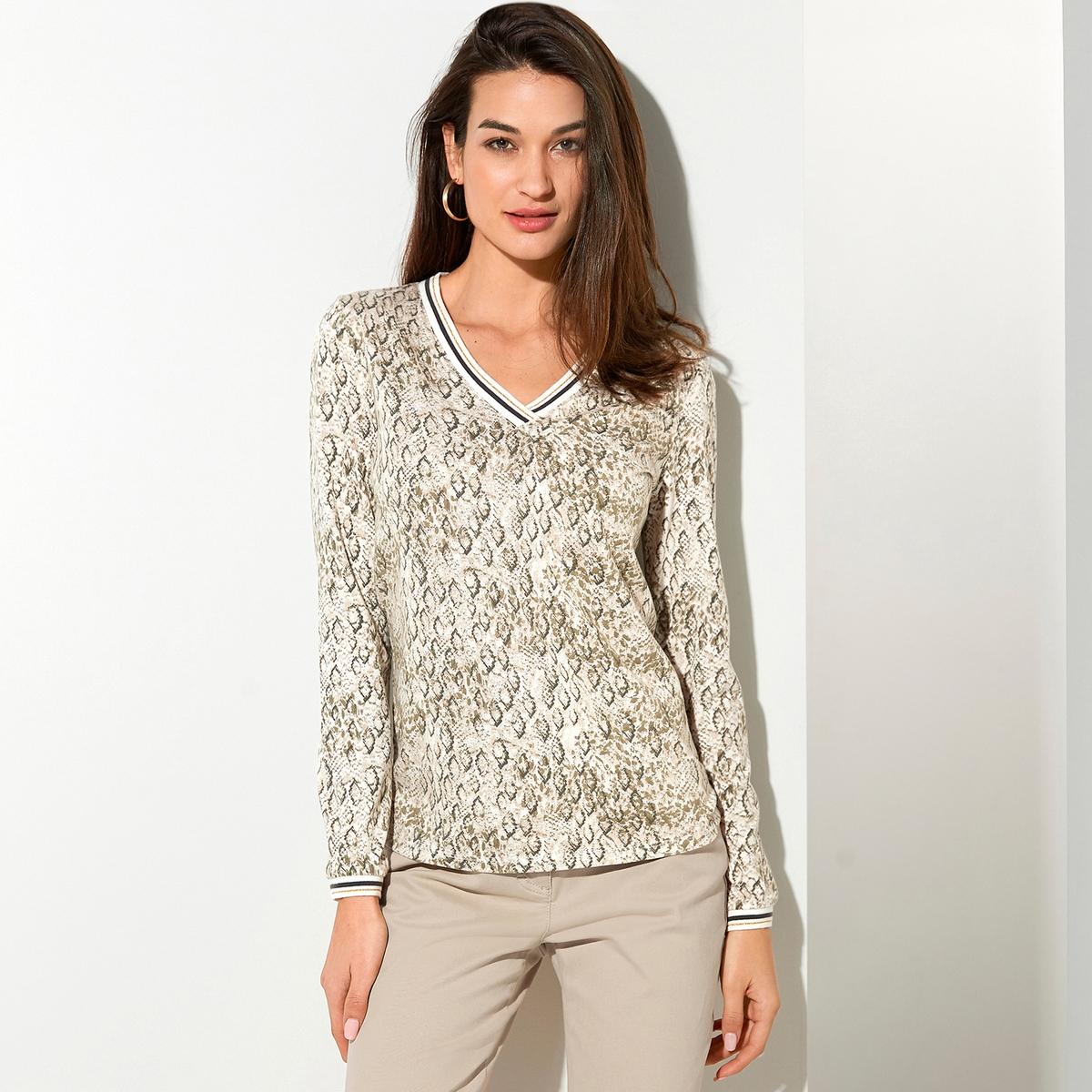 Imagen secundaria de producto de Camiseta con cuello de pico, de algodón y modal - Anne weyburn