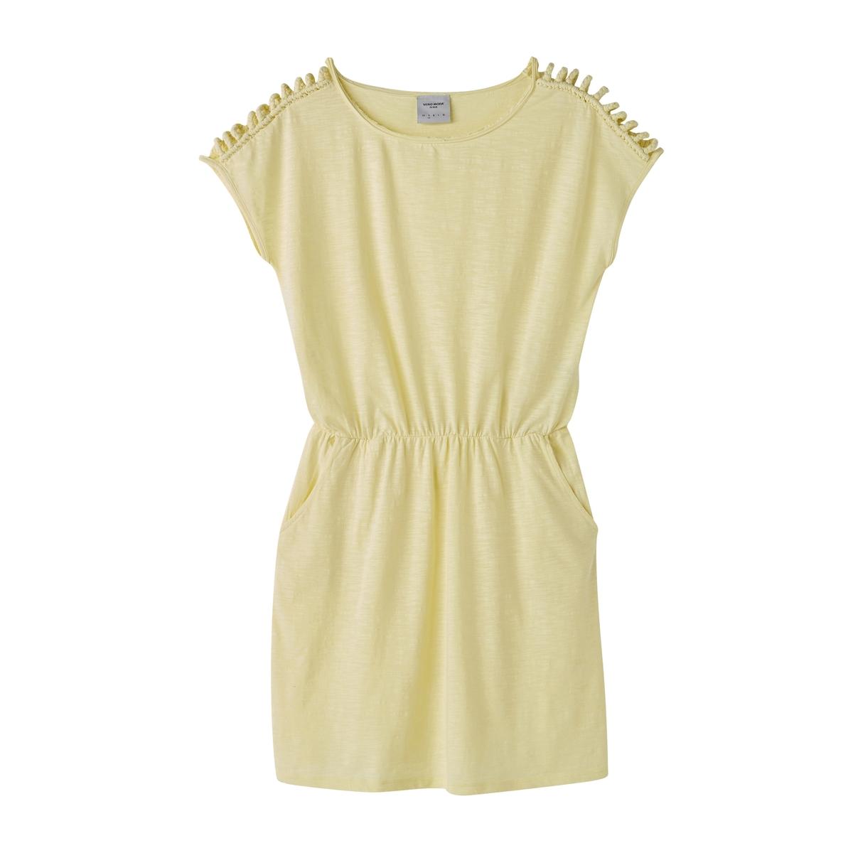 Платье короткое с короткими рукавамиДетали  •  Форма : расклешенная   •  Длина до колен •  Короткие рукава    •   V-образный вырез   •  Эластичный пояс Состав и уход   •  100% хлопок  •  Просьба следовать советам по уходу, указанным на этикетке изделия<br><br>Цвет: желтый<br>Размер: XL