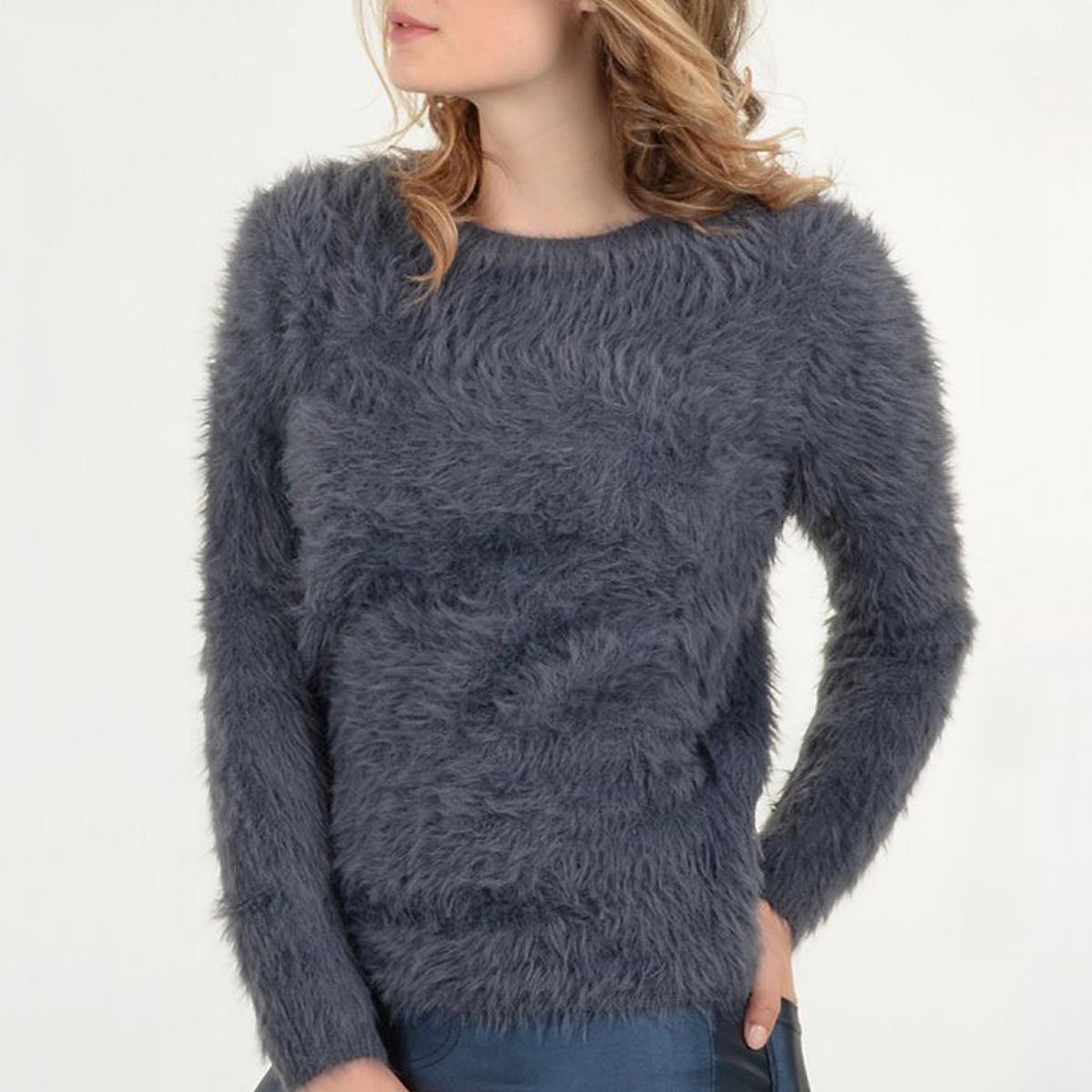 Пуловер ворсистый с длинными рукавами пуловер с длинными рукавами