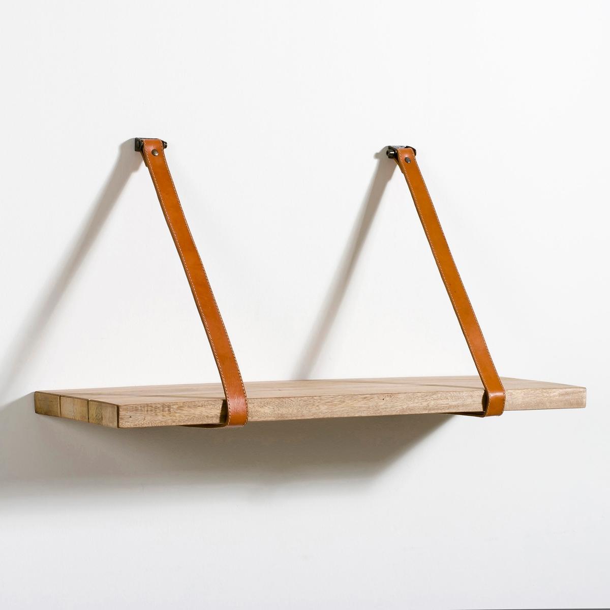 Полка настенная из мангового дерева KabaneПолка Kabane. Состоит из полки для крепления к стене с помощью 2 ремней. Практичная и эстетичная полка найдет свое место в любой комнате дома.Характеристики: - Полка из необработанного массива мангового дерева- 2 ремня из натуральной кожи - Крепится к стене (шурупы и дюбеля продаются отдельно).Размеры:-  Размер S: Ш.61 x В.3 x Г.25 см- Размер M: Ш.76 x В.3 x Г.25 см- Длина ремней: 80 см<br><br>Цвет: светлое дерево