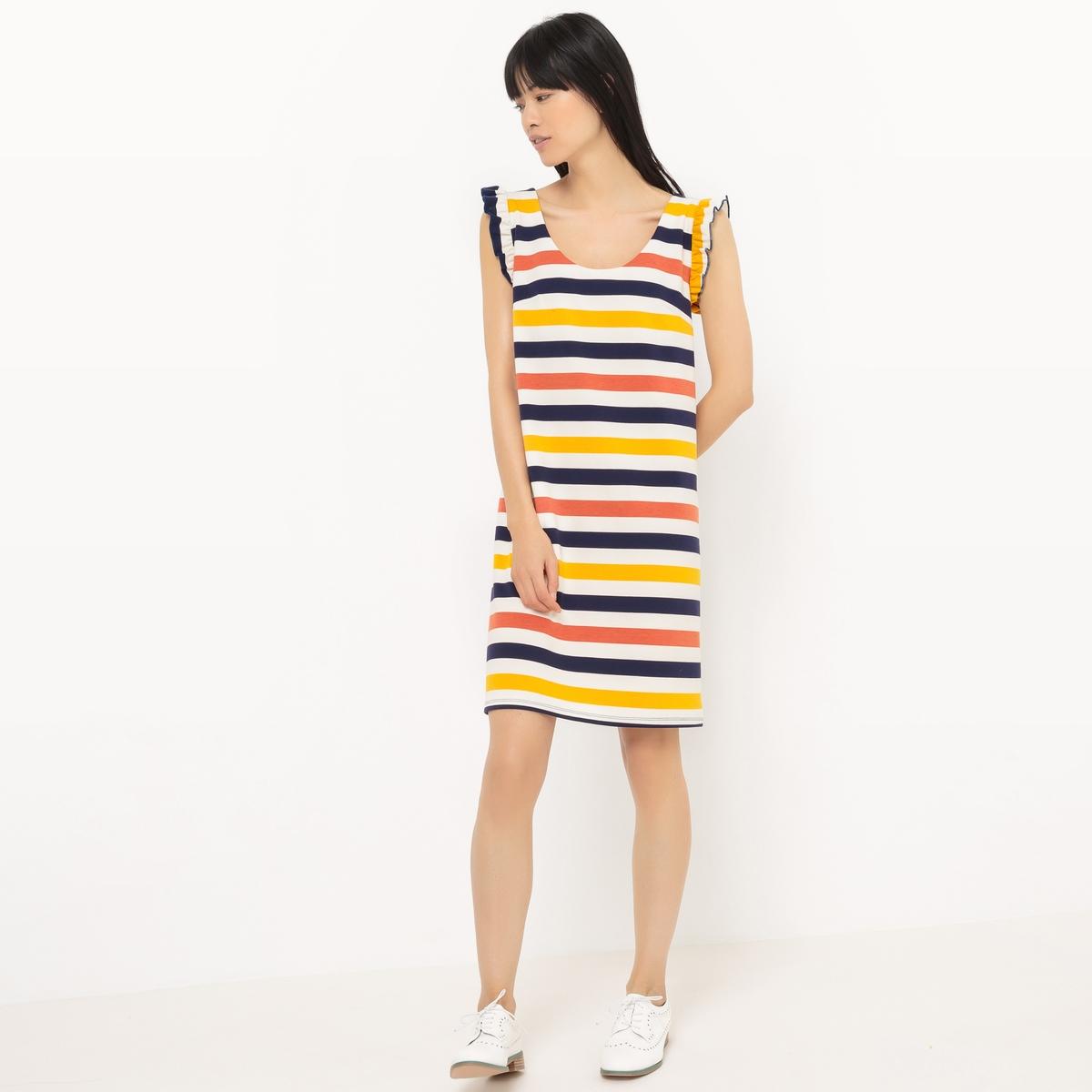Платье-футляр в полоску из трикотажа, с воланамиМатериал : 75% полиэстера, 20% вискозы, 5% эластана.             Длина рукава : без рукавов             Форма воротника : круглый вырез            Покрой платья : платье прямого покроя               Рисунок : в полоску             Особенность платья : глубокий вырез сзади            Длина платья : 92 см            Стирка : машинная стирка при 30 °С            Уход : Сухая чистка и отбеливание запрещены            Машинная сушка : Машинная сушка запрещена            Глажка : при низкой температуре<br><br>Цвет: в полоску разноцветный<br>Размер: 50 (FR) - 56 (RUS).40 (FR) - 46 (RUS).38 (FR) - 44 (RUS)