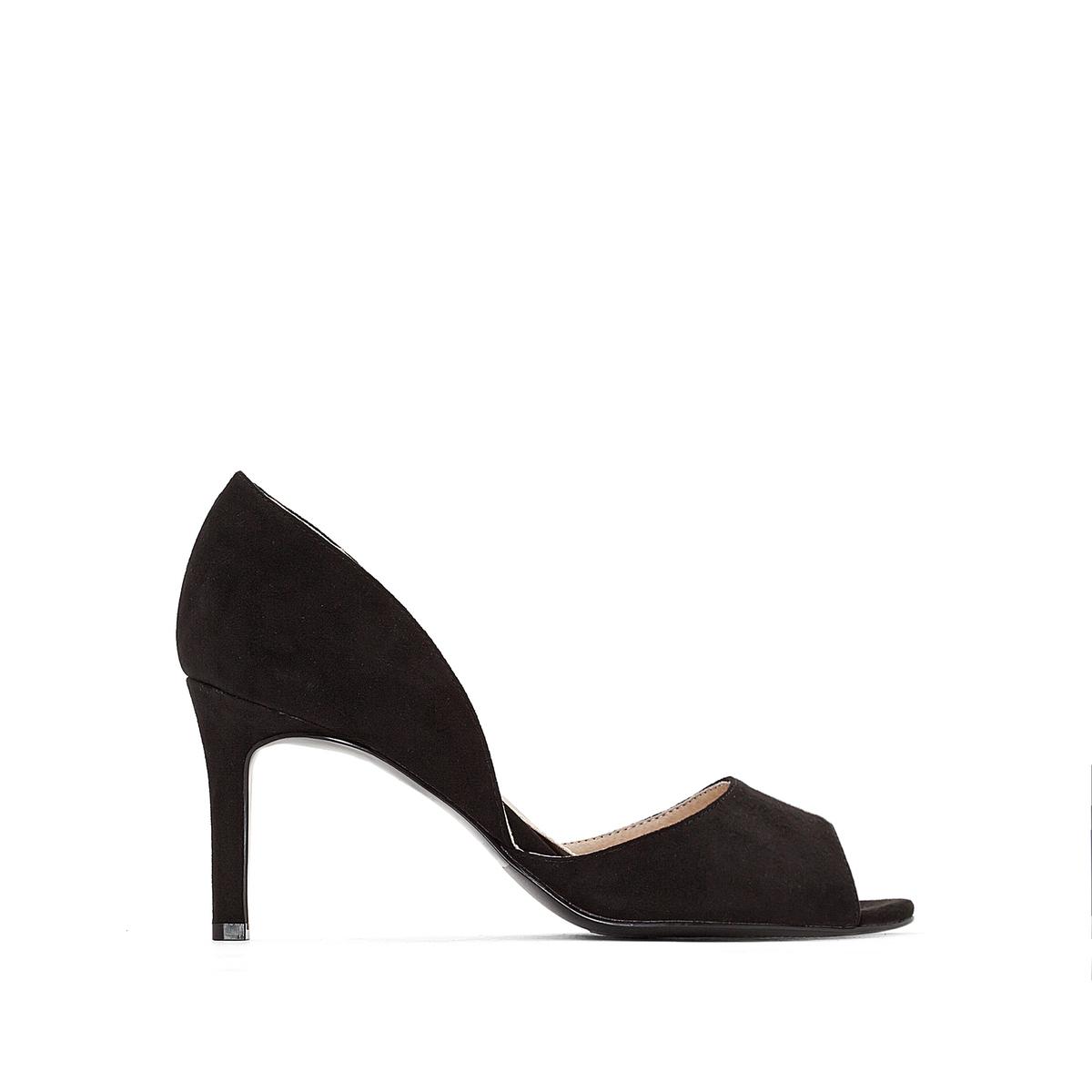 Туфли с открытым мыском C408A-4Верх : текстиль Подкладка : синтетика Стелька : синтетика Подошва : синтетика Высота каблука : 8 см Форма каблука : шпилька Мысок : закругленный Застежка : без застежки<br><br>Цвет: черный