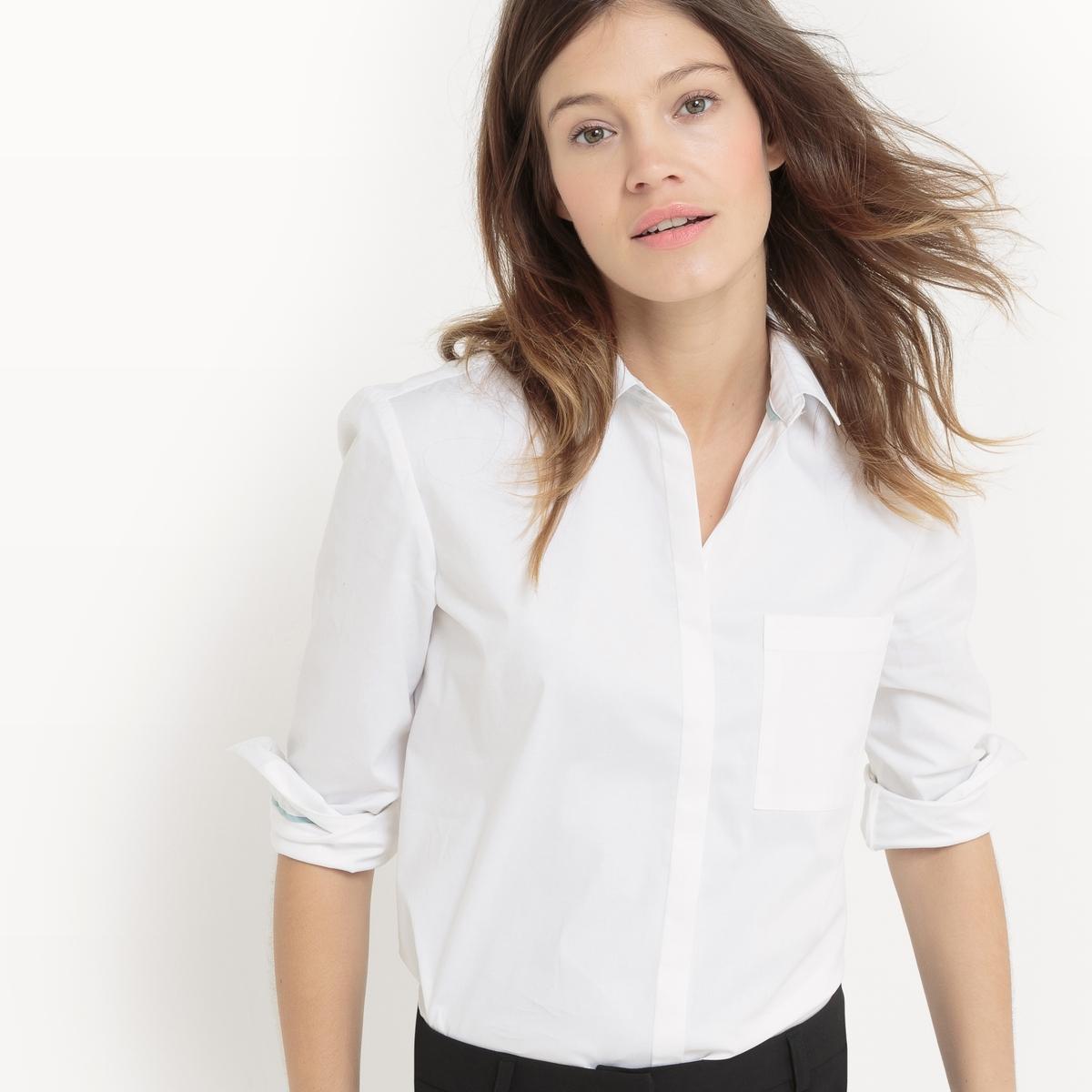 Рубашка прямая из хлопка с нагрудным карманом