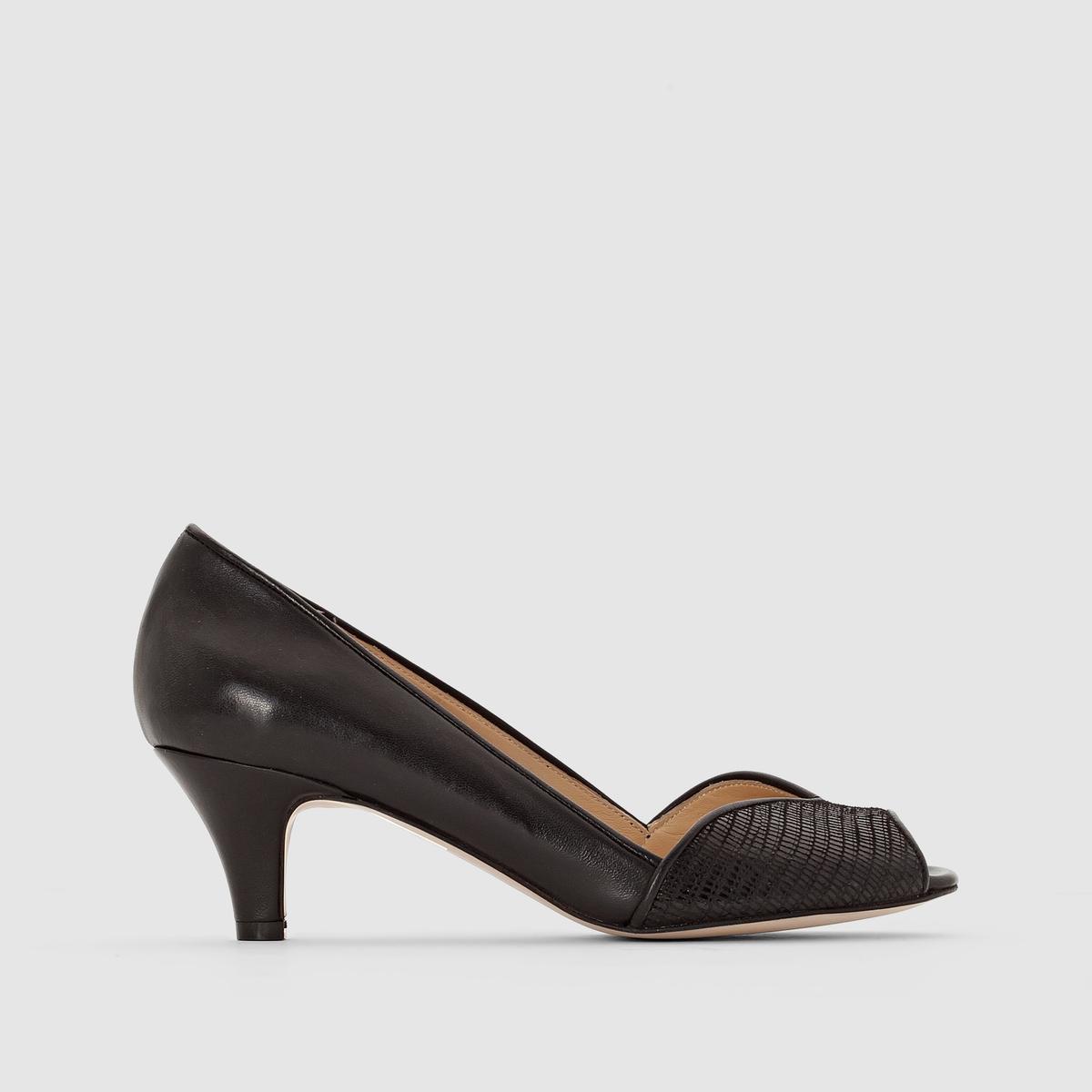 Туфли кожаные с открытым мыскомJONAKПреимущества:   : Туфли JONAK с открытым мыском делают ставку на элегантность за счёт сочетания двух неброских материалов и на сдержанность благодаря каблукам средней высоты.<br><br>Цвет: черный<br>Размер: 36