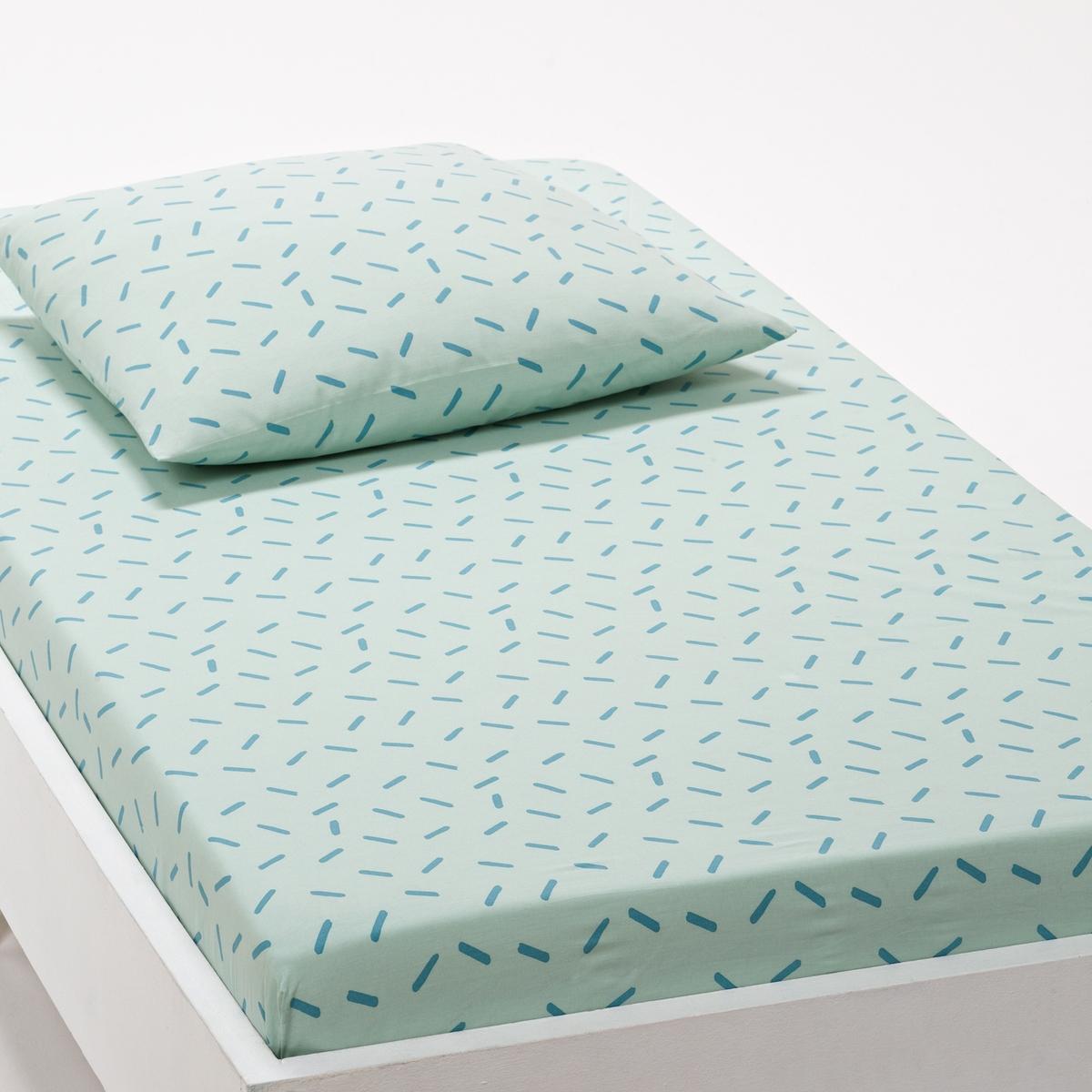 цена на Натяжная простыня La Redoute Детская Sleepy Fox 90 x 140 см зеленый