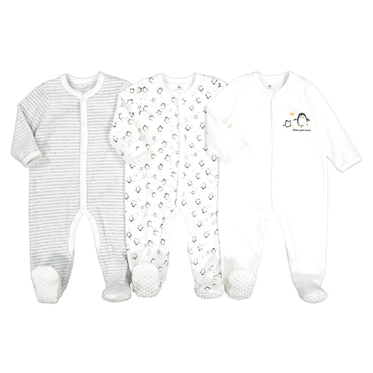 Комплект из 3 пижам из LaRedoute Велюра 0 мес - 2 года 1 мес. - 54 см белый пижама laredoute с носочками из велюра 0 мес 3 года 3 мес 60 см серый