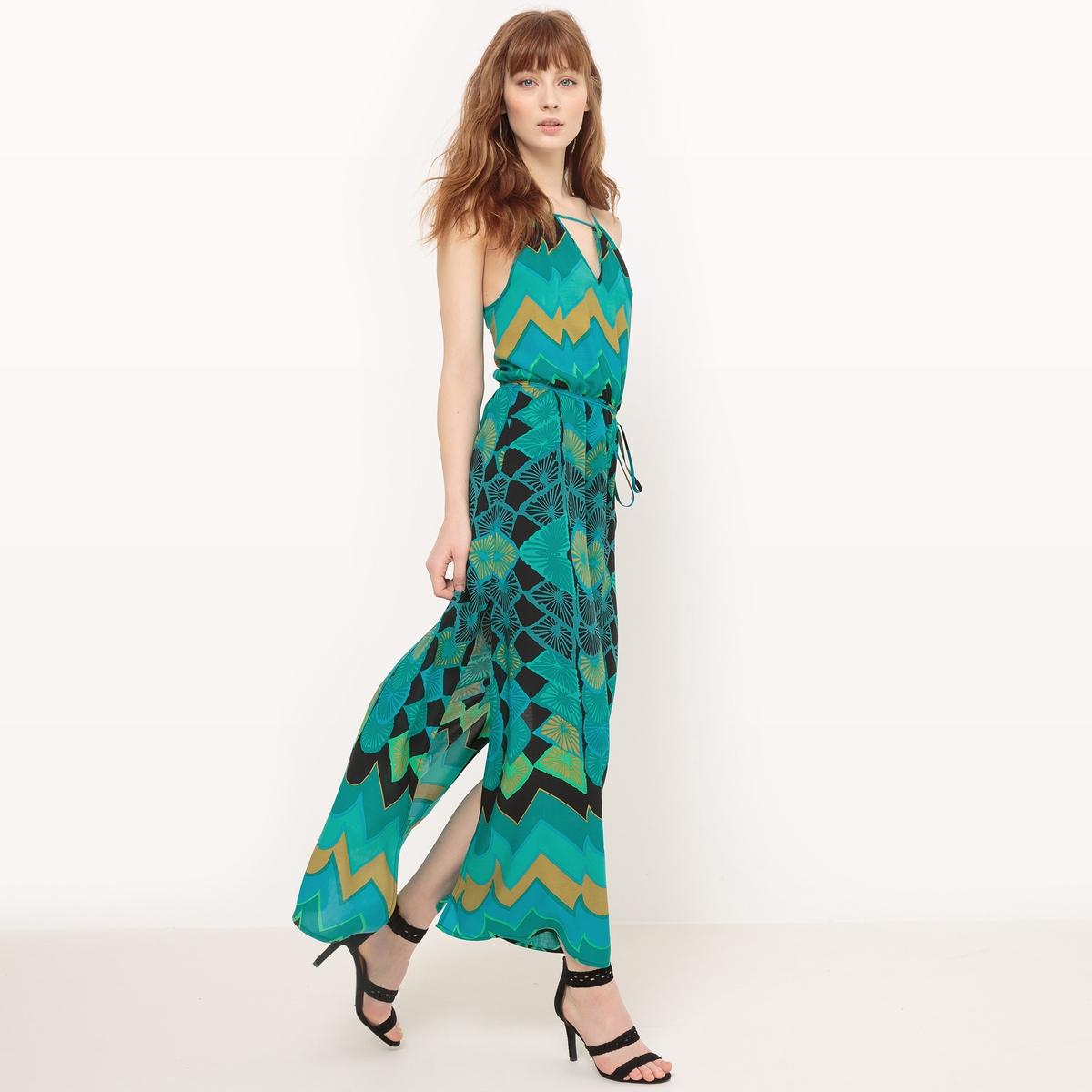 Платье длинное с тонкими бретелями и рисунком