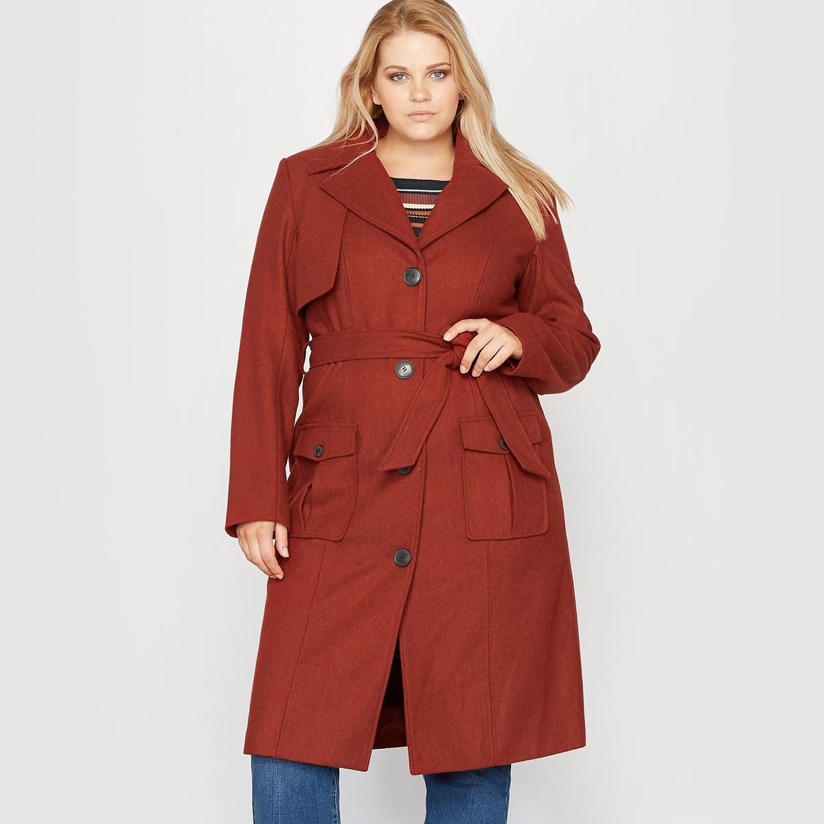 Пальто стилизовано под тренч, 40 % шерстиСостав и описание:Материал: мягкая и тёплая ткань, 60 % полиэстера, 40 % шерсти. Подкладка: 100 % полиэстера.Длина: 107 см для 48 размера. Марка: CASTALUNA.Уход:- Сухая чистка.<br><br>Цвет: красно-коричневый<br>Размер: 58 (FR) - 64 (RUS).56 (FR) - 62 (RUS).52 (FR) - 58 (RUS).48 (FR) - 54 (RUS).46 (FR) - 52 (RUS)