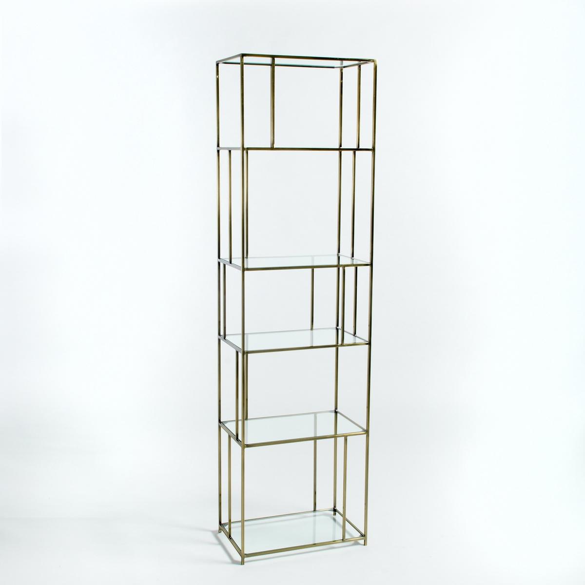 Книжный стеллаж из стекла/металла под латунь Parallel