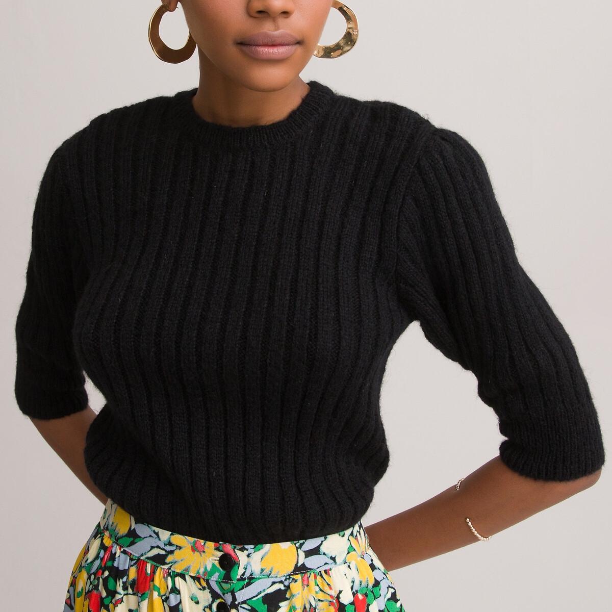 Пуловер LaRedoute С круглым вырезом и короткими рукавами из трикотажа в рубчик L черный пуловер laredoute с короткими рукавами с бантиком сзади xl красный