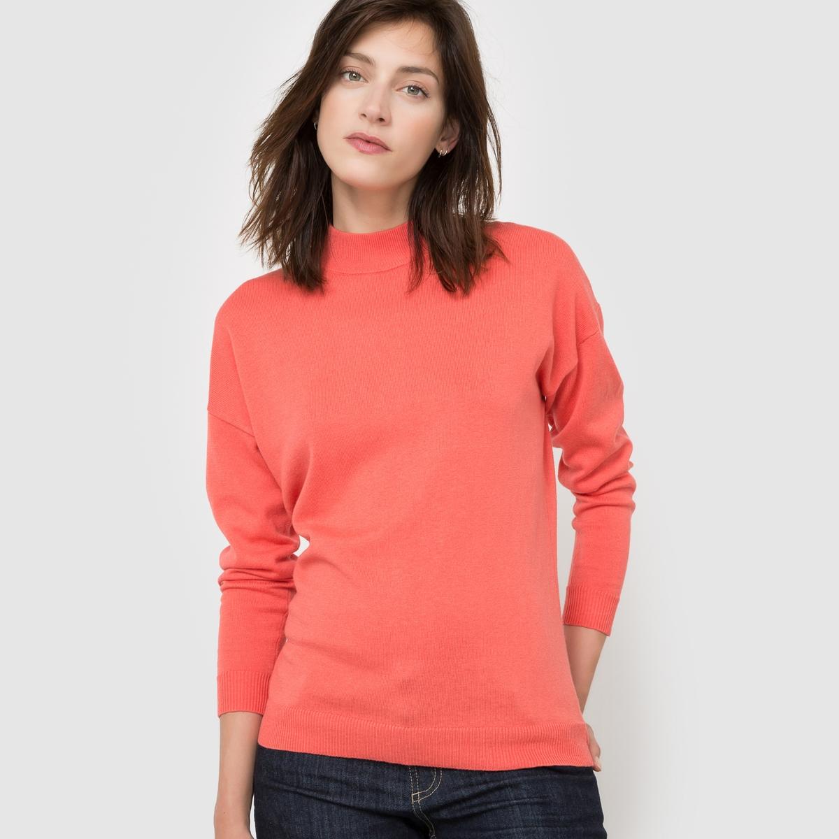 Пуловер с высоким воротником из кашемира и хлопка