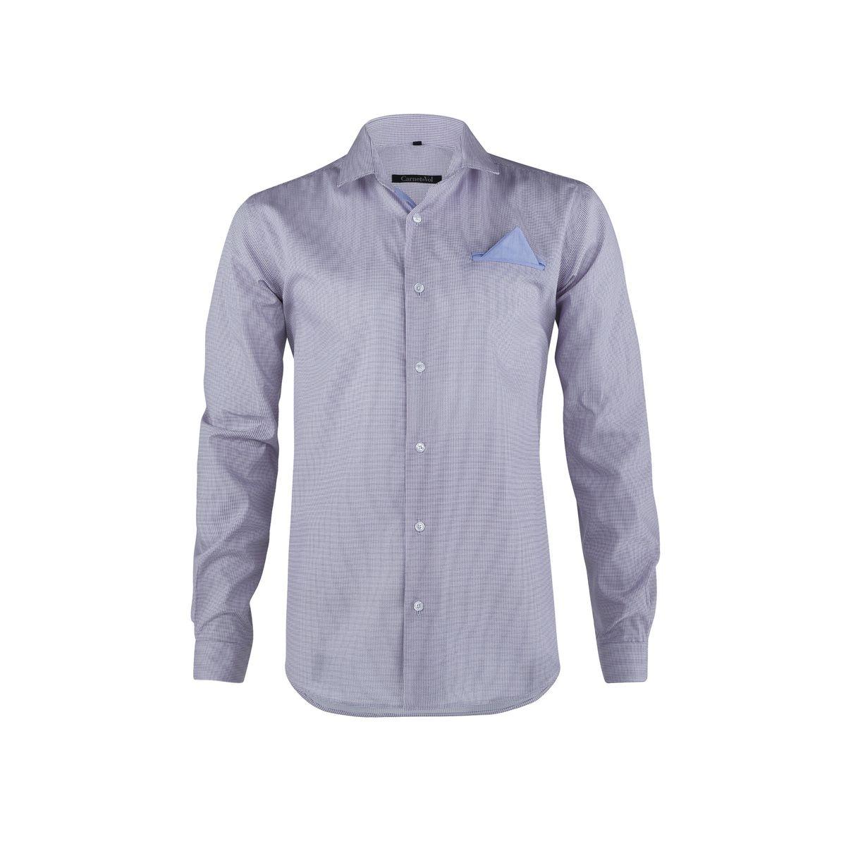 Chemise fond blanc imprime rouge et bleu