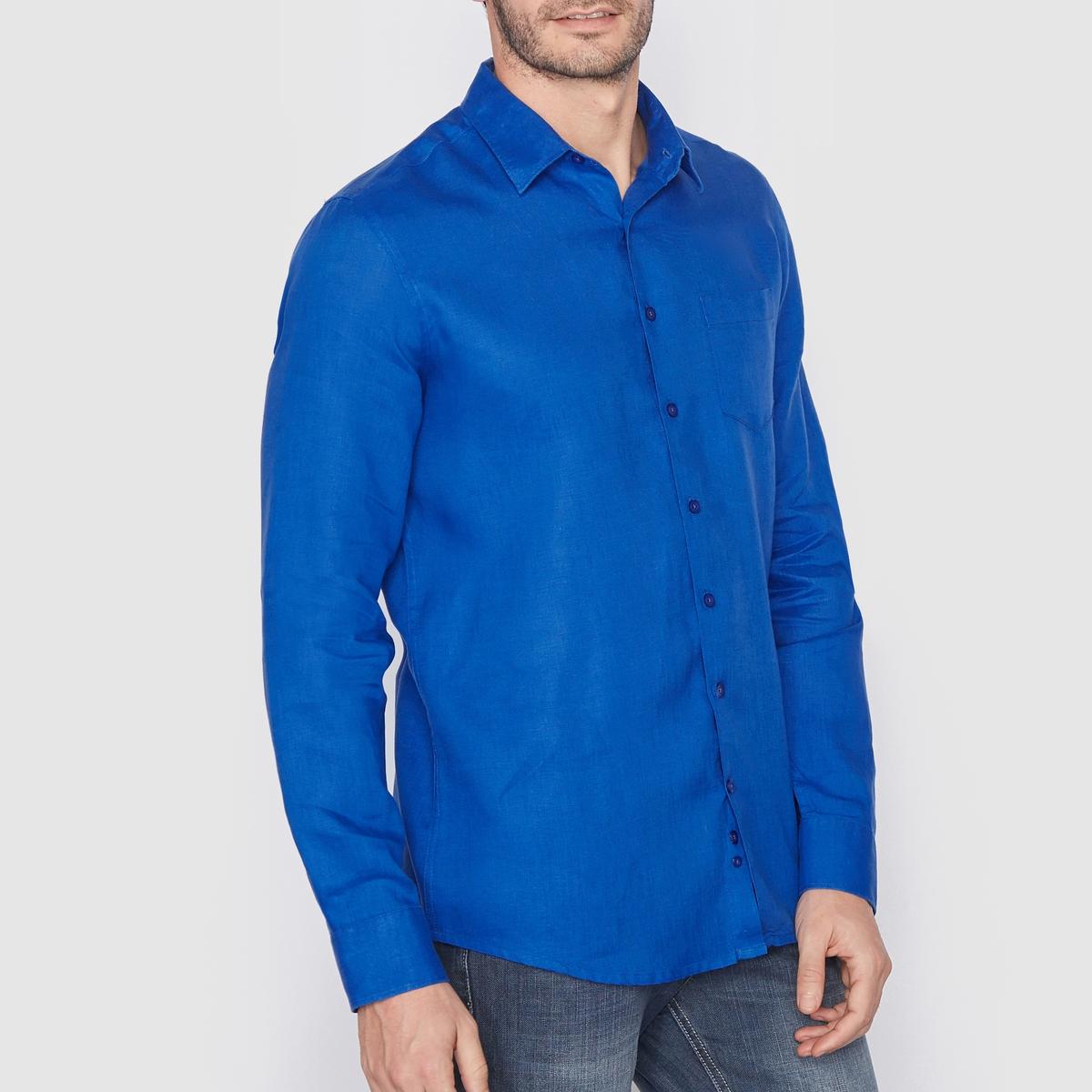 Рубашка прямого покроя с длинными рукавами, 100% лен<br><br>Цвет: малиновый,оранжевый меланж,синий<br>Размер: 35/36.41/42.35/36