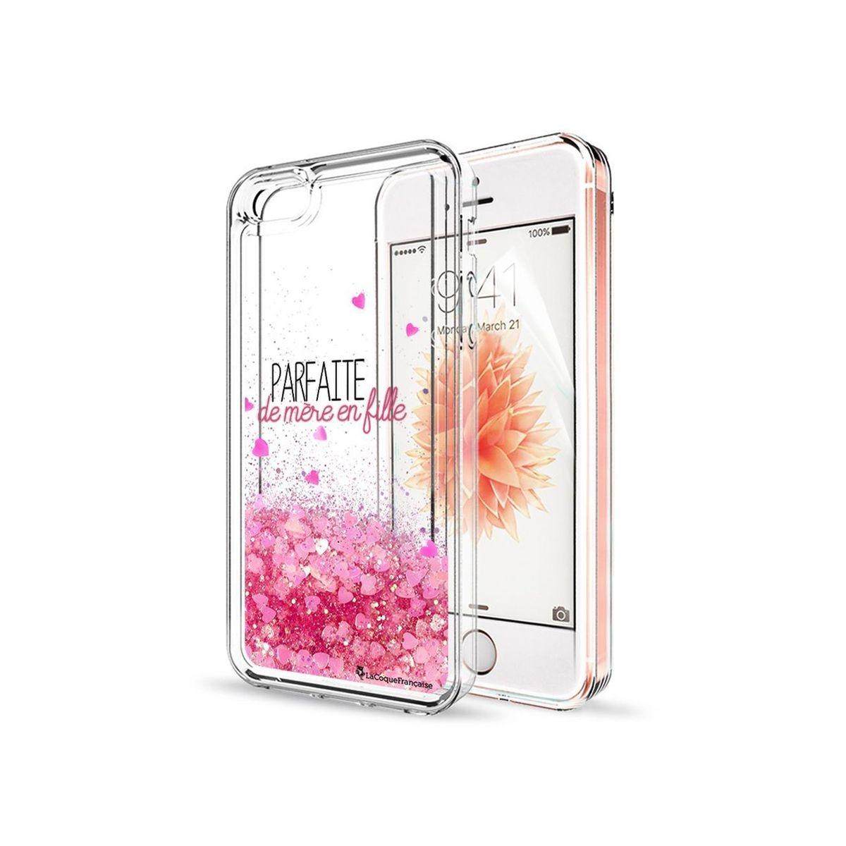 Coque iPhone 5/5S/SE paillettes liquides rose, Parfaite de mère en fille, La Coque Francaise®