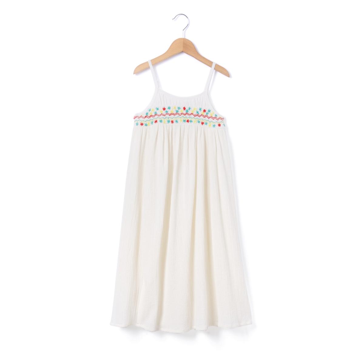 Платье с вышивкой без рукавов, 2-12 лет