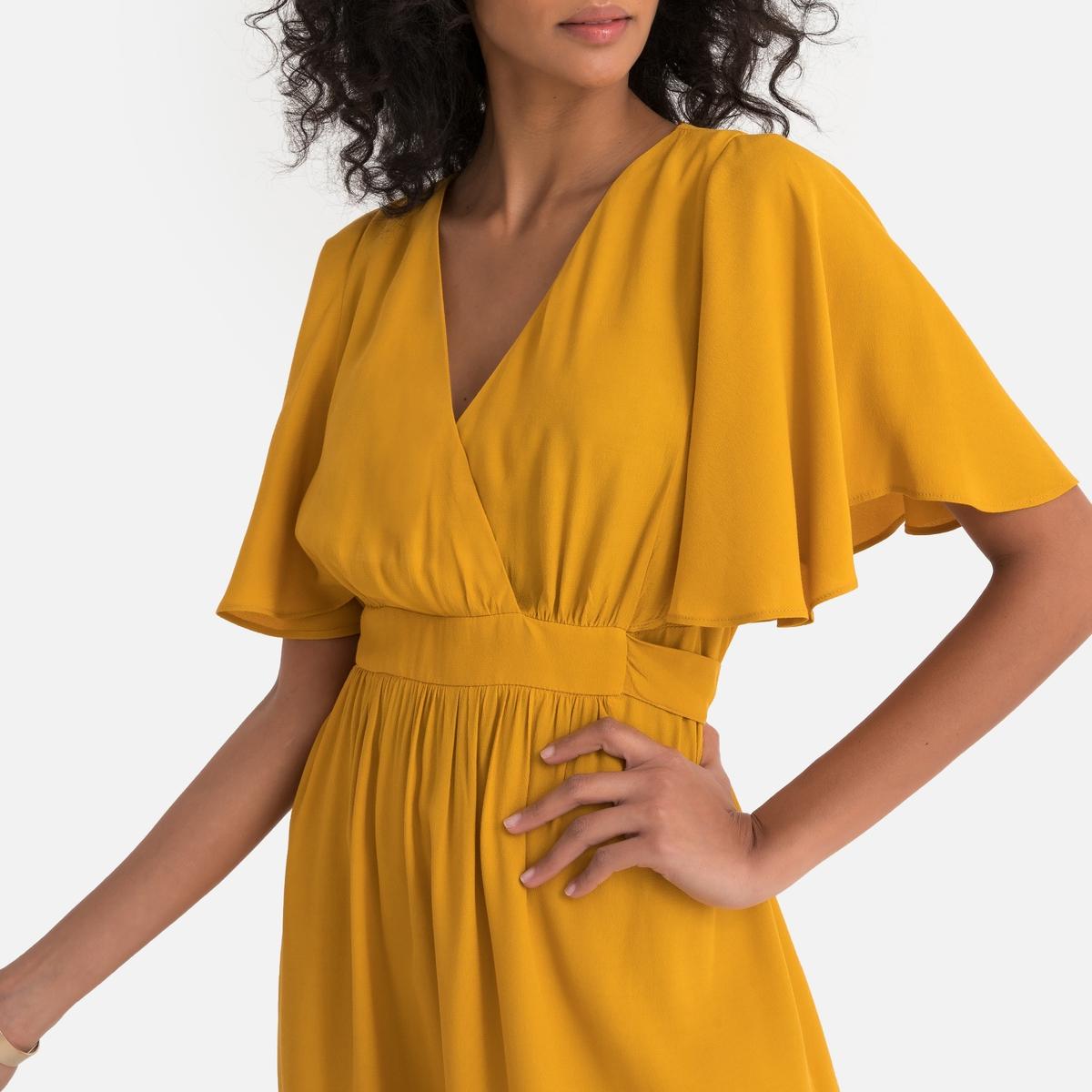 цена Платье La Redoute С запахом с длинными рукавами Laforta 38 (FR) - 44 (RUS) оранжевый онлайн в 2017 году