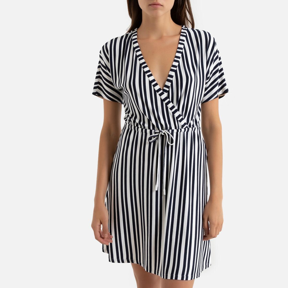 Платье La Redoute В полоску длина до колена расклешенный покрой L синий