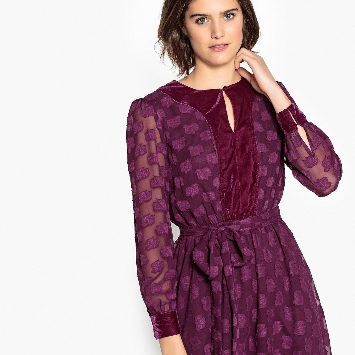 Платье La Redoute Расклешенное с вышивкой гладью и велюровой вставкой 36 (FR) - 42 (RUS) красный платье la redoute радужное estelle 36 fr 42 rus черный
